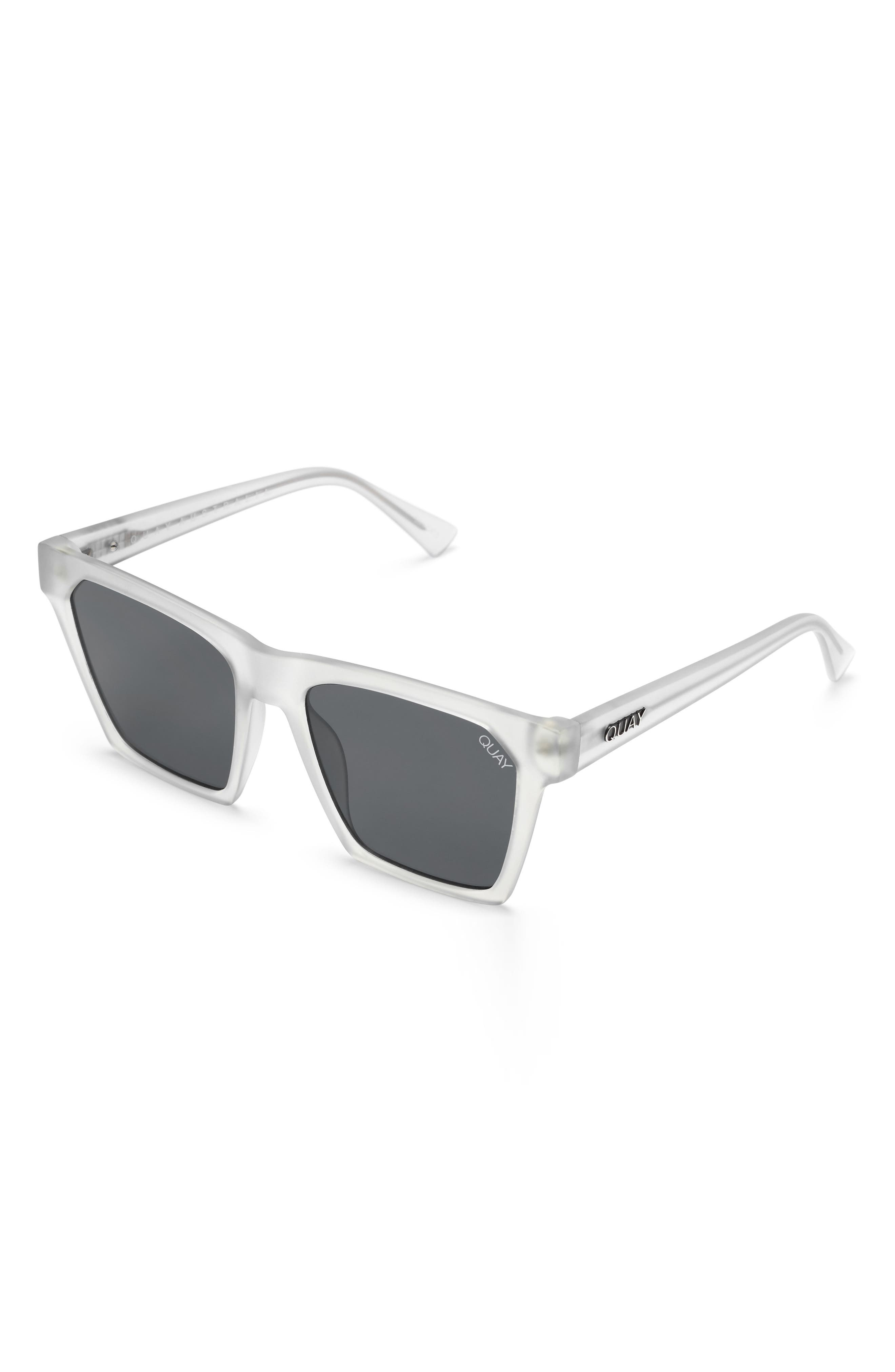 x Missguided Alright 55mm Square Sunglasses,                             Alternate thumbnail 5, color,                             White/ Smoke