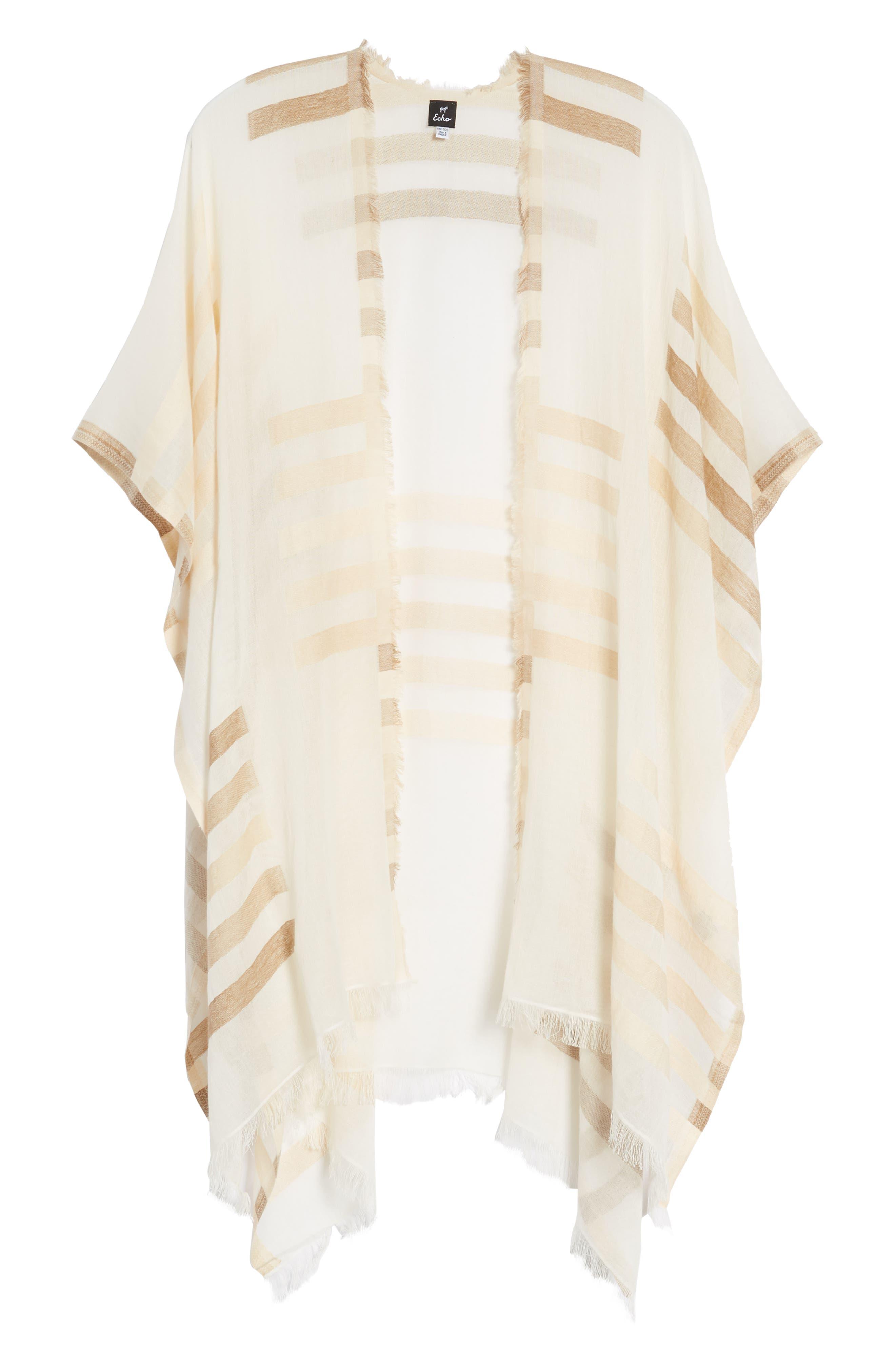 Bay Stripe Yarn Dyed Ruana,                             Alternate thumbnail 6, color,                             White