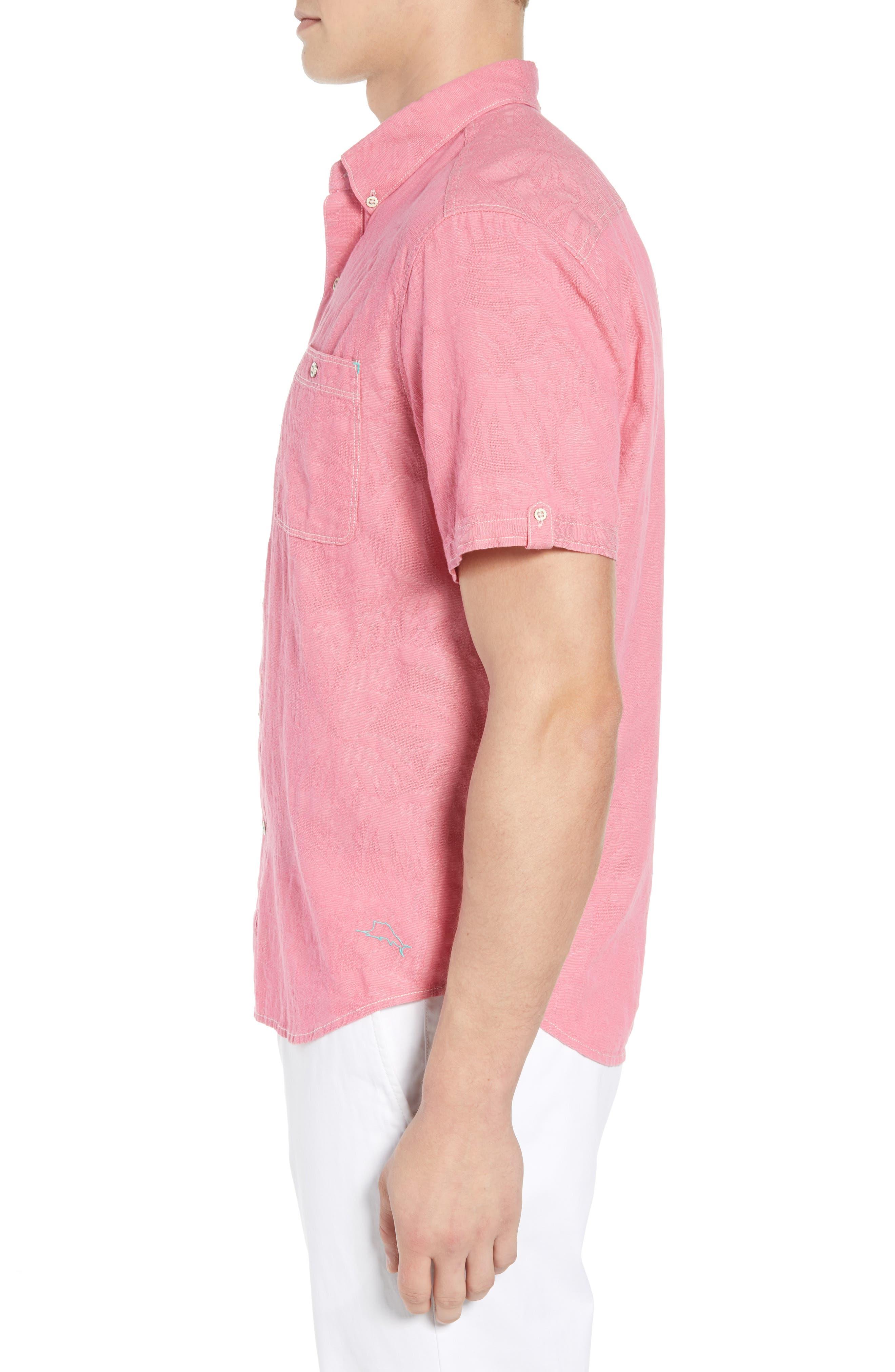 Desert Fronds Sport Shirt,                             Alternate thumbnail 4, color,                             Bright Rose