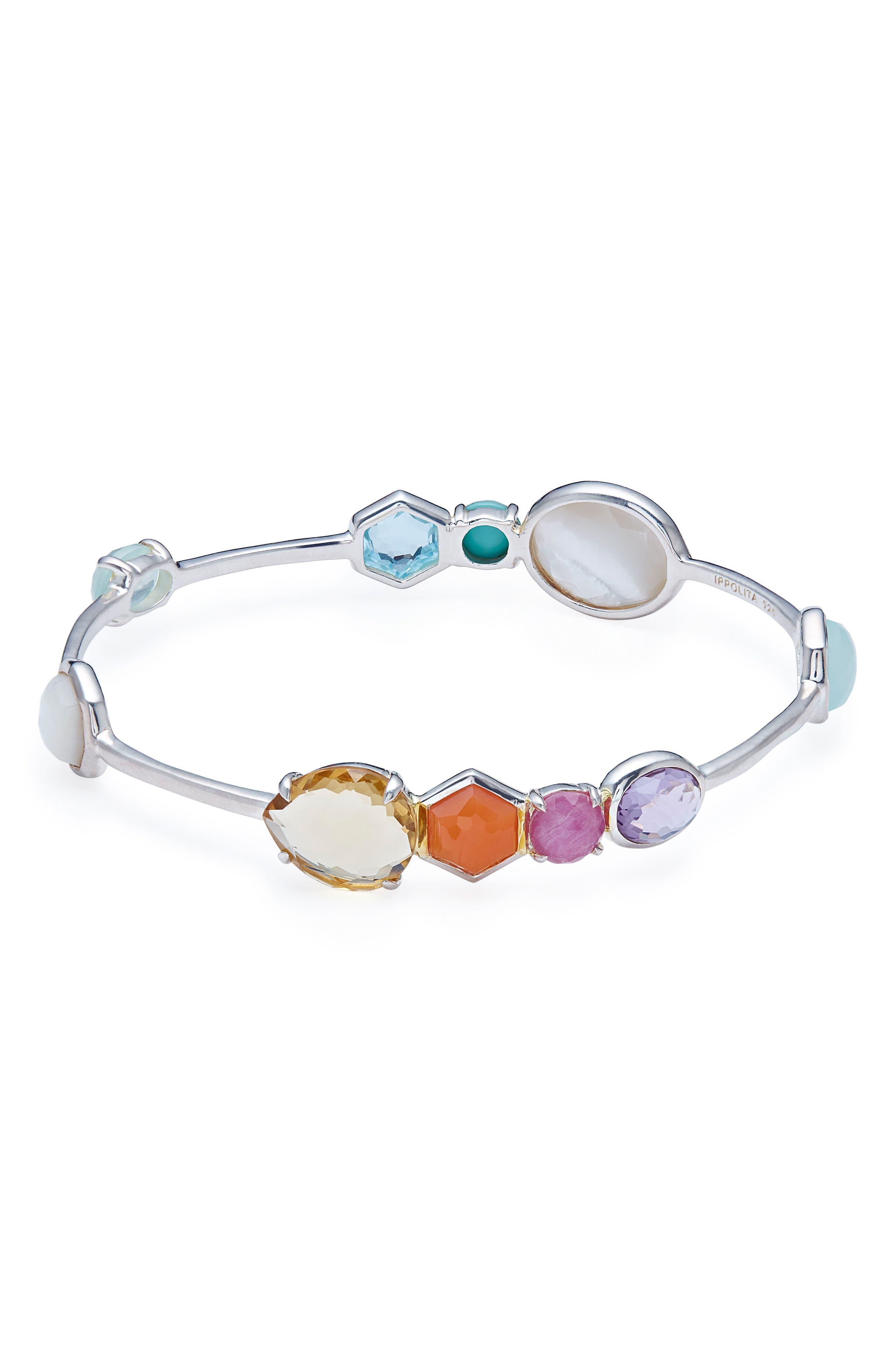 925 Rock Candy Station Bracelet In Harmony in Rainbow