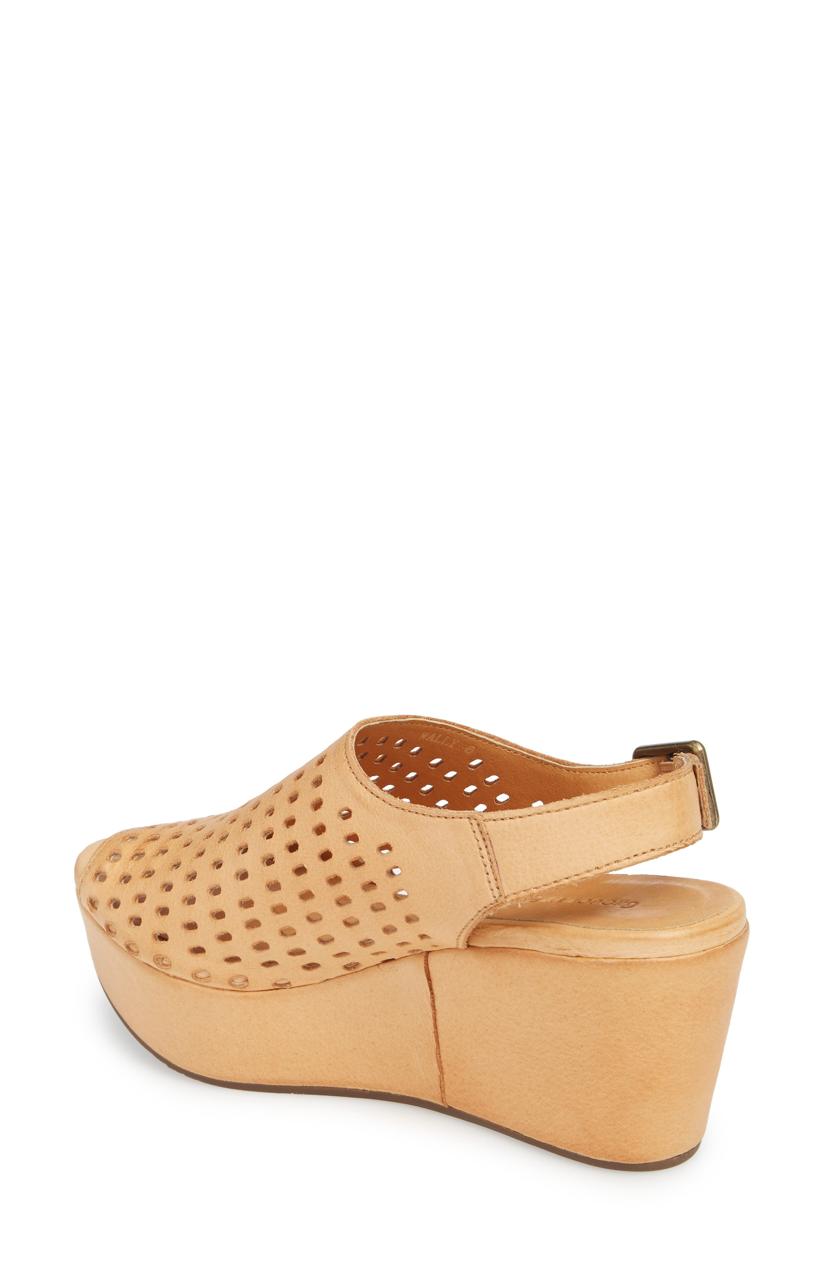 Wally Platform Wedge Sandal,                             Alternate thumbnail 2, color,                             Tan Leather