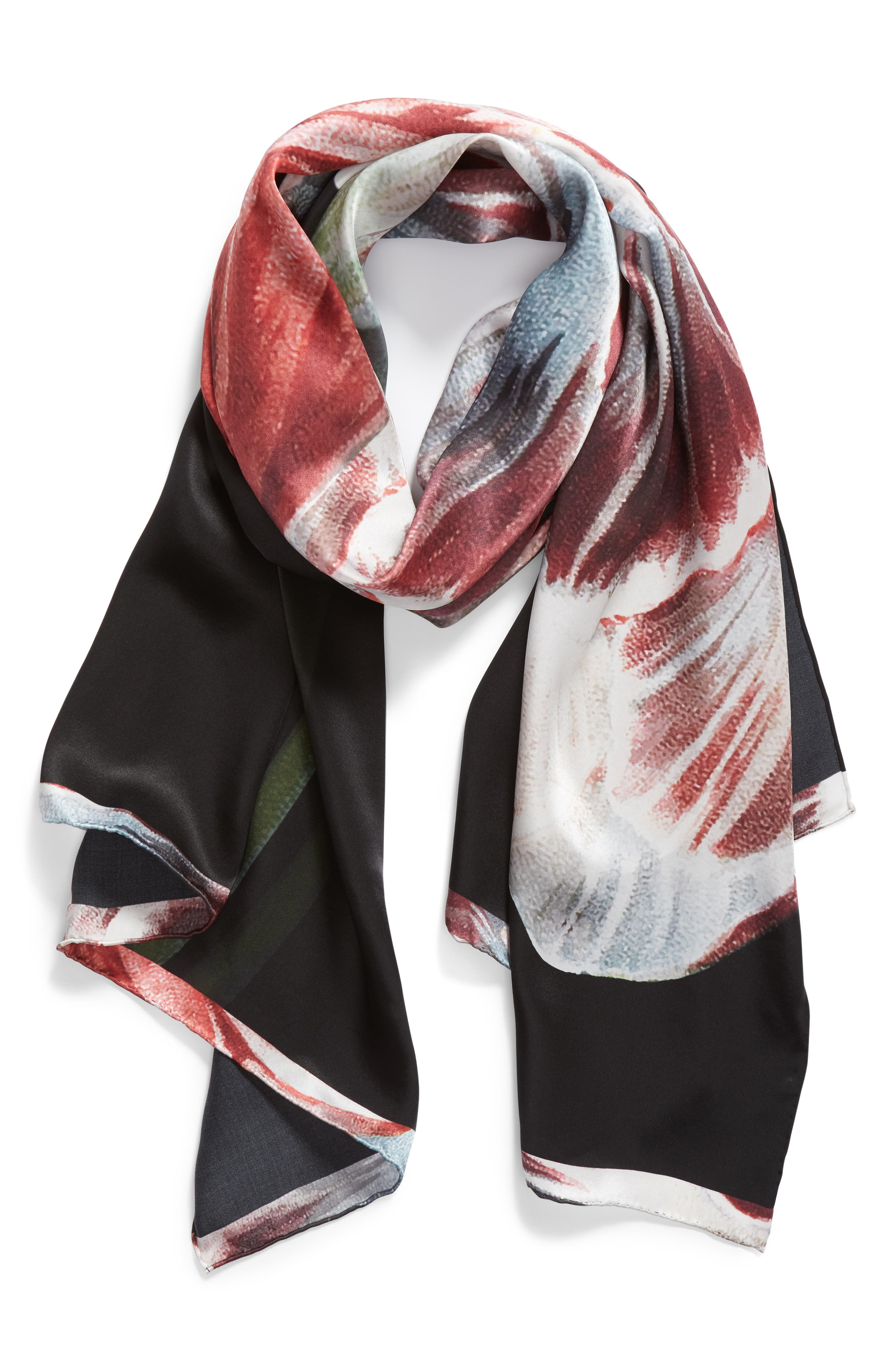 Tranquility Long Silk Scarf,                             Alternate thumbnail 2, color,                             Black