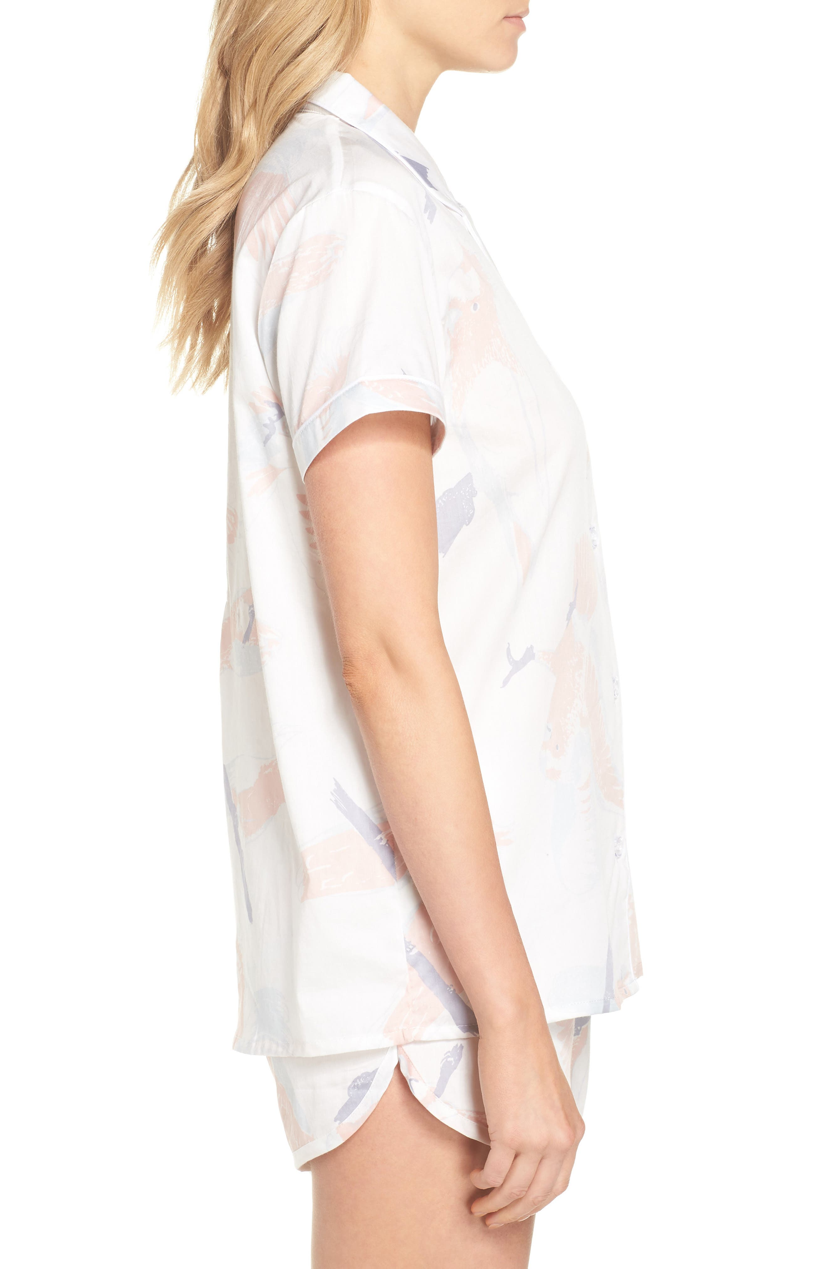 Cockatoos Short Pajamas,                             Alternate thumbnail 3, color,                             Cockatoos White