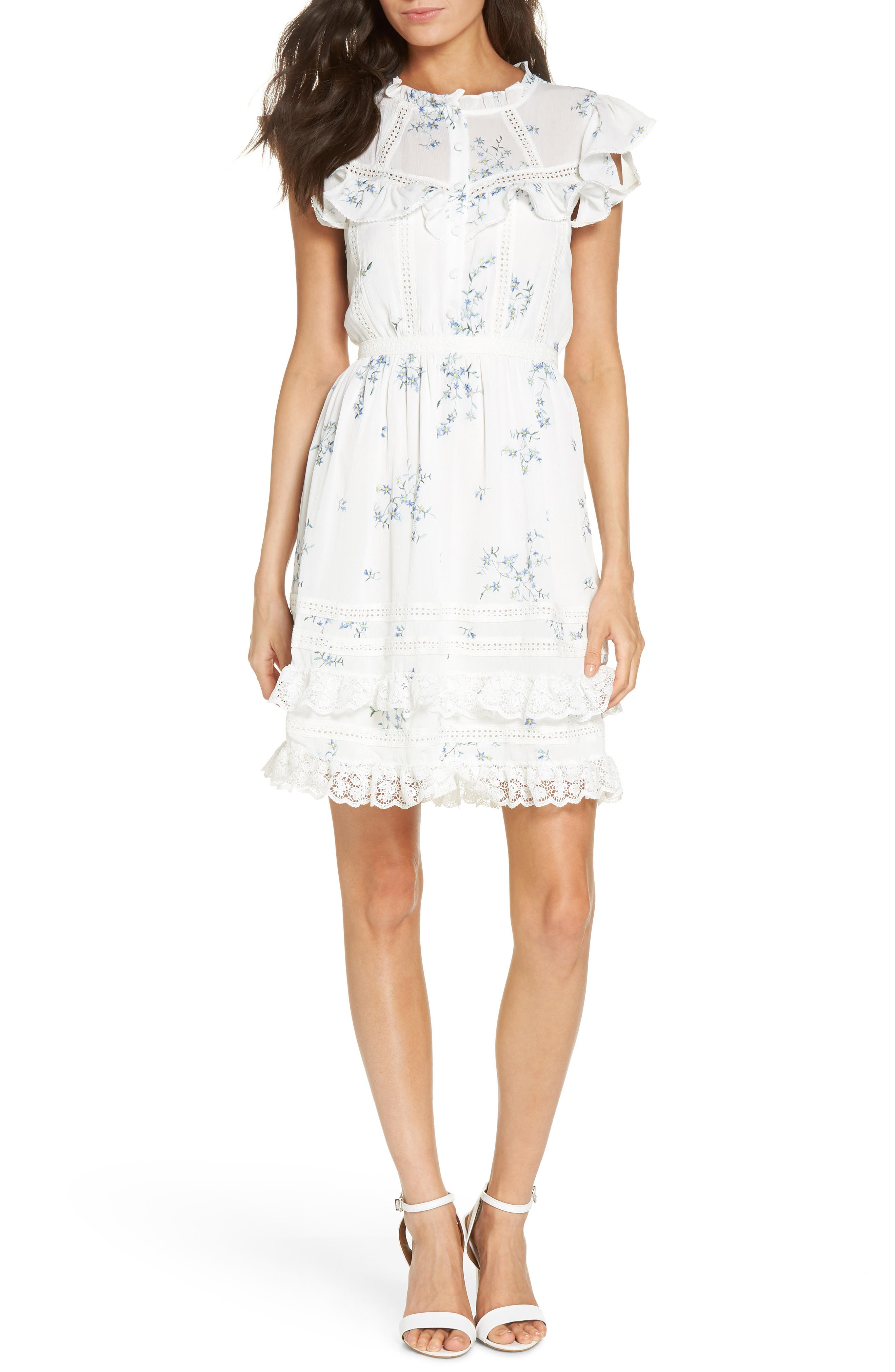 Embroidery & Lace Dress,                         Main,                         color, White