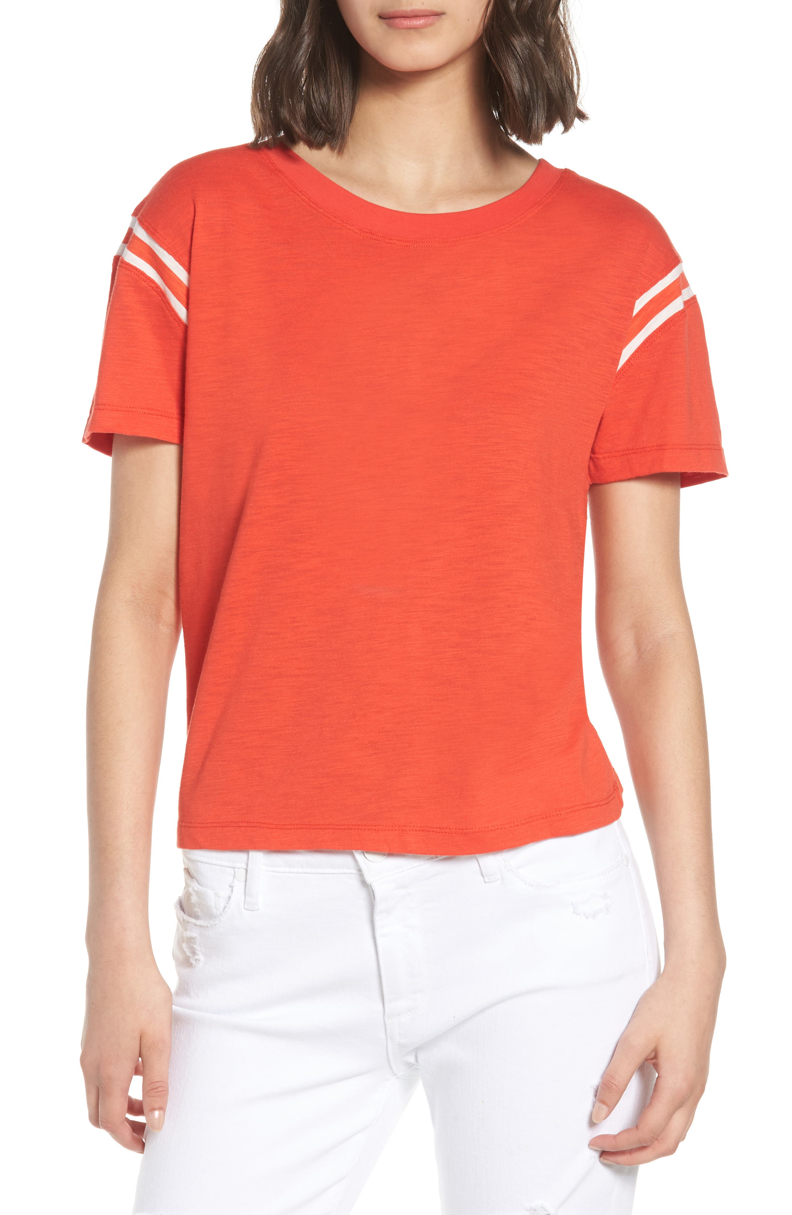 Football Tee,                             Main thumbnail 1, color,                             Candy Red