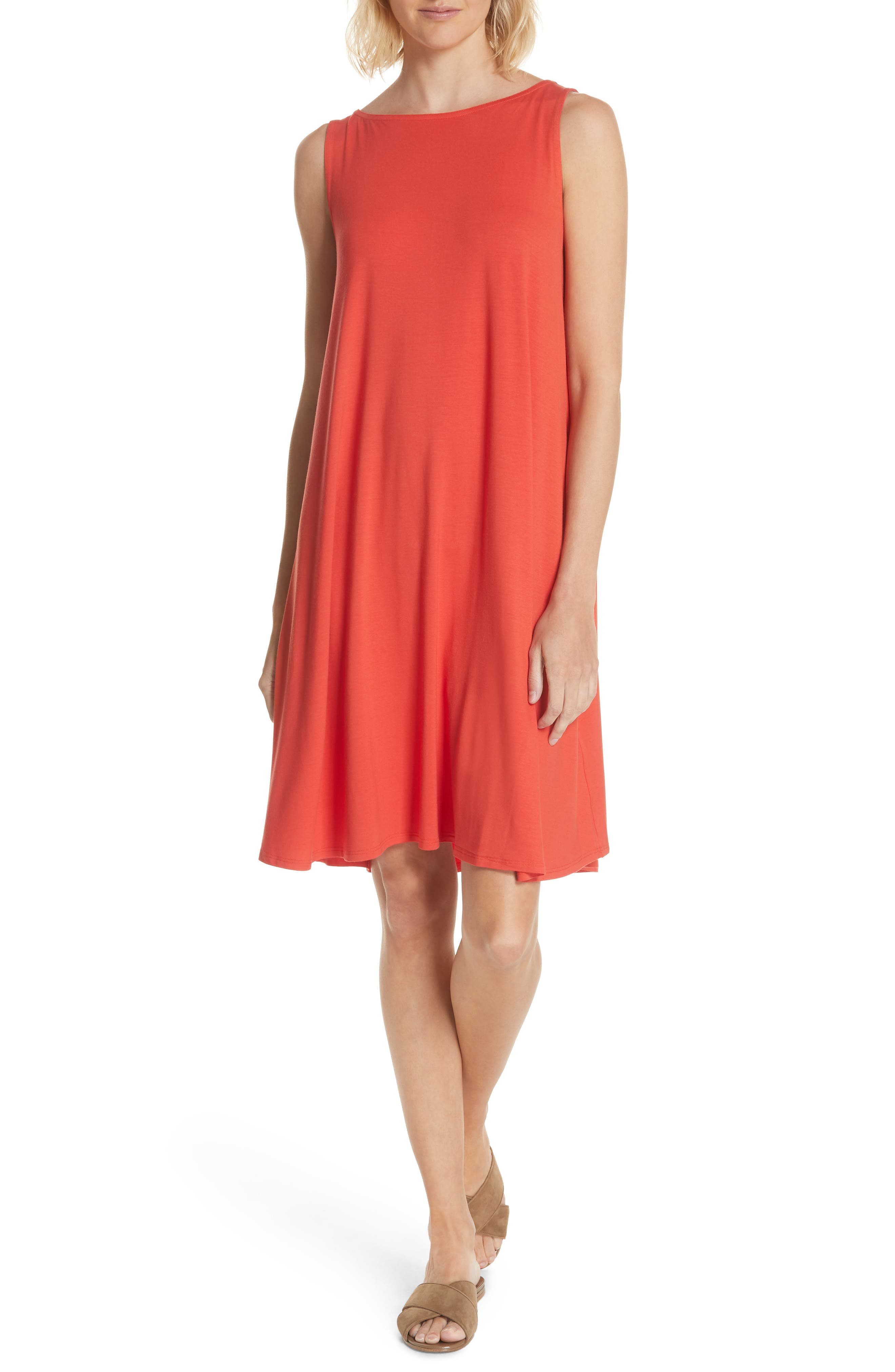 Alternate Image 1 Selected - Eileen Fisher Lightweight Jersey Shift Dress (Regular & Petite) (Nordstrom Exclusive)