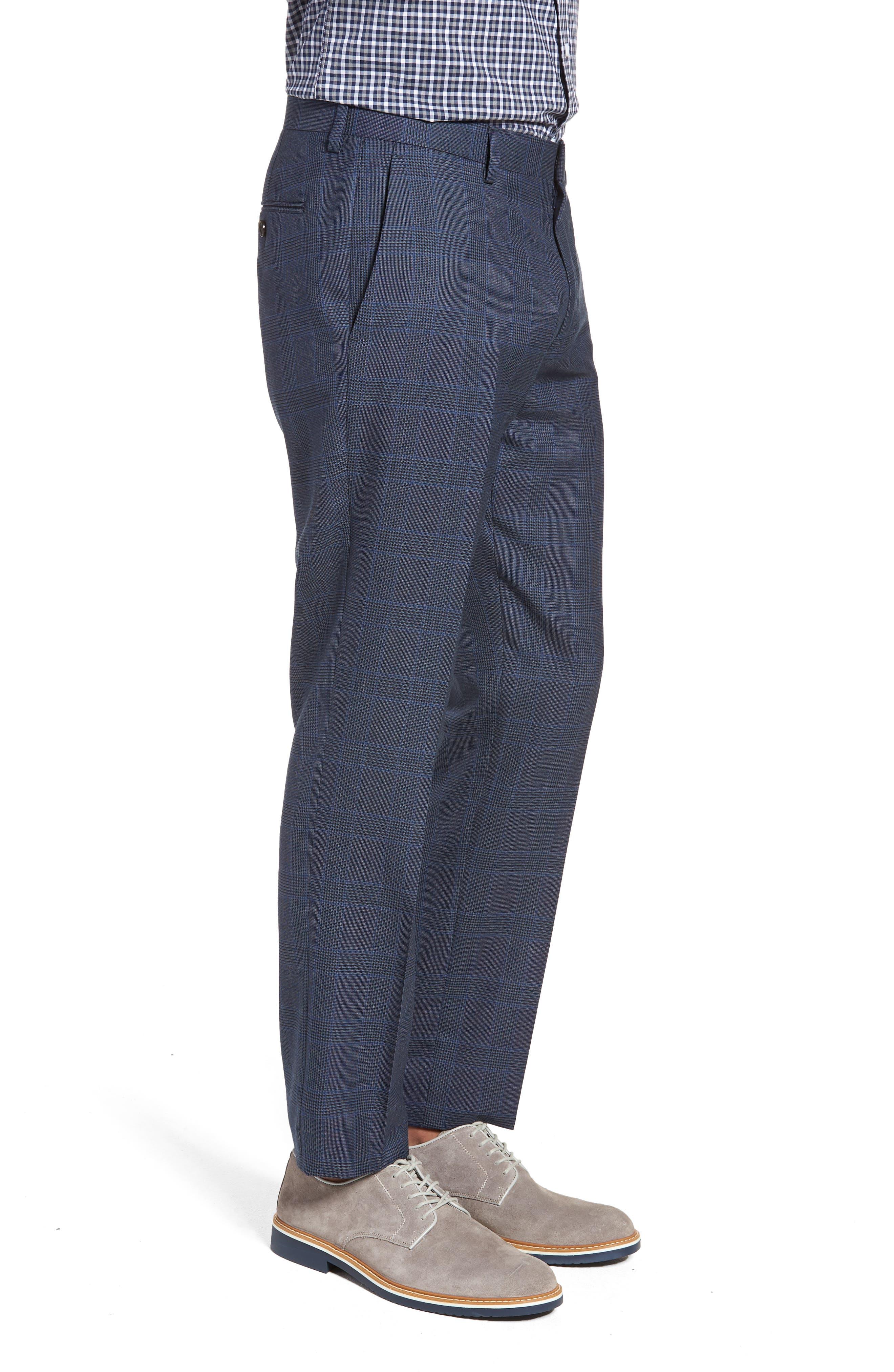 Ludlow Trim Fit Glen Plaid Wool Pants,                             Alternate thumbnail 3, color,                             Baltic Blue