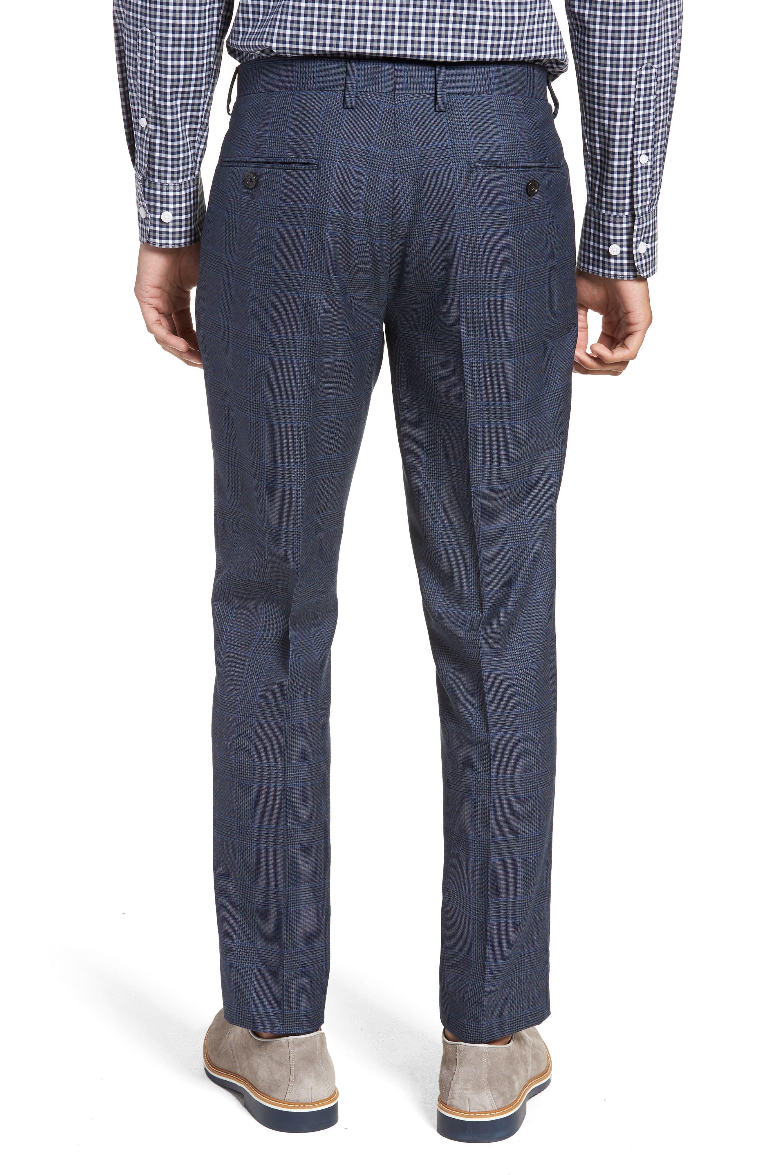 Ludlow Trim Fit Glen Plaid Wool Pants,                             Alternate thumbnail 2, color,                             Baltic Blue