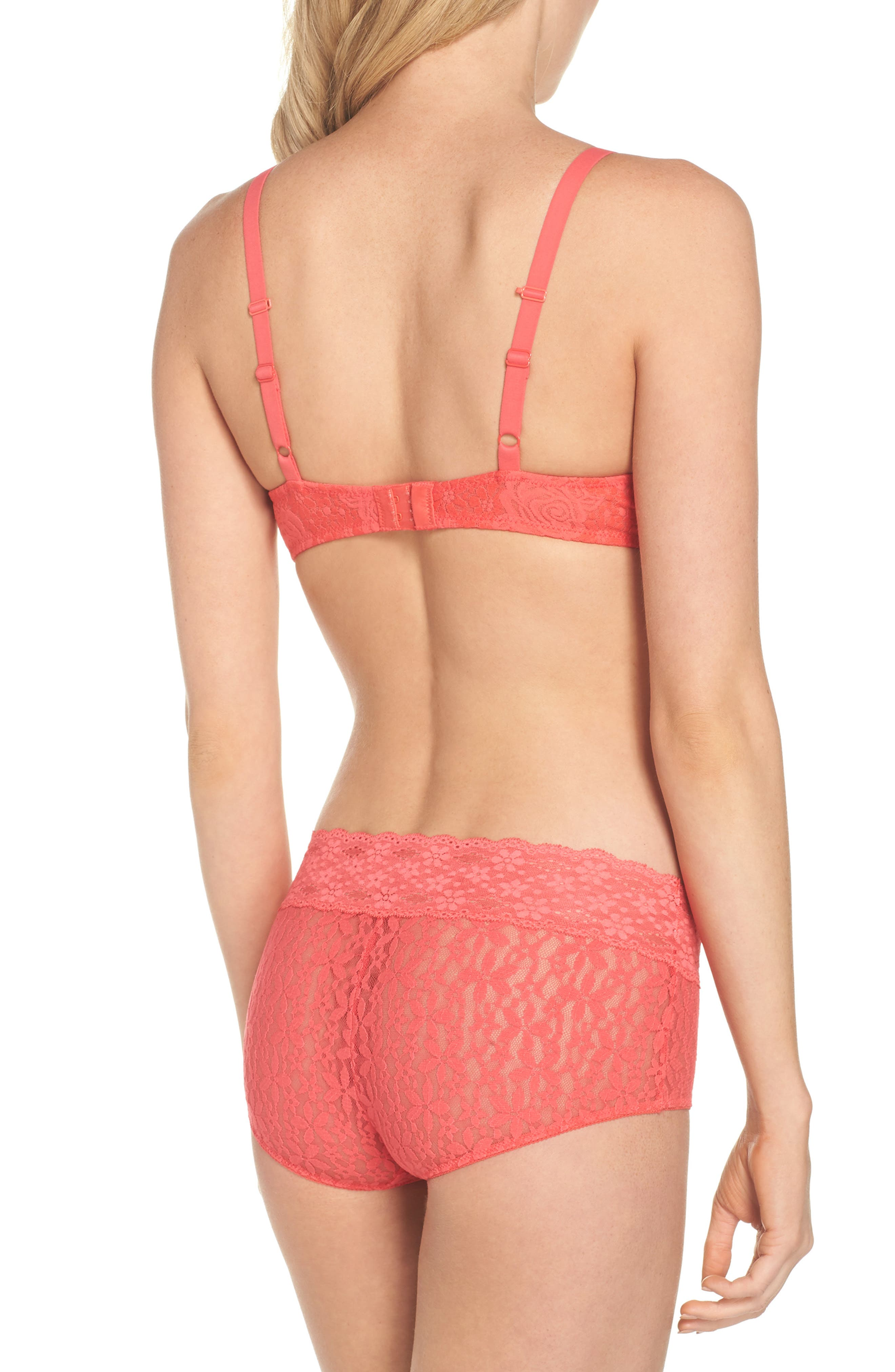 'Halo Lace' Convertible Underwire Bra,                             Alternate thumbnail 6, color,                             Hibiscus
