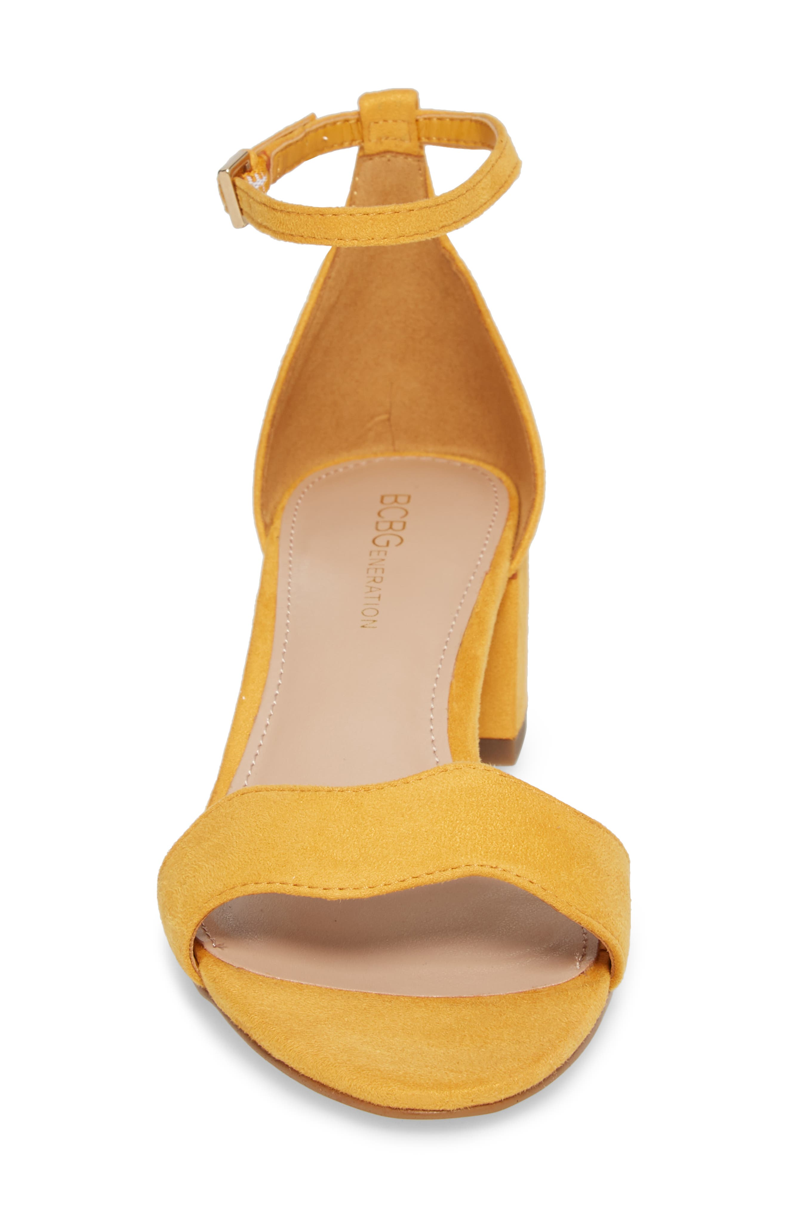 Farlyn Ankle Strap Sandal,                             Alternate thumbnail 4, color,                             Marigold Faux Leather
