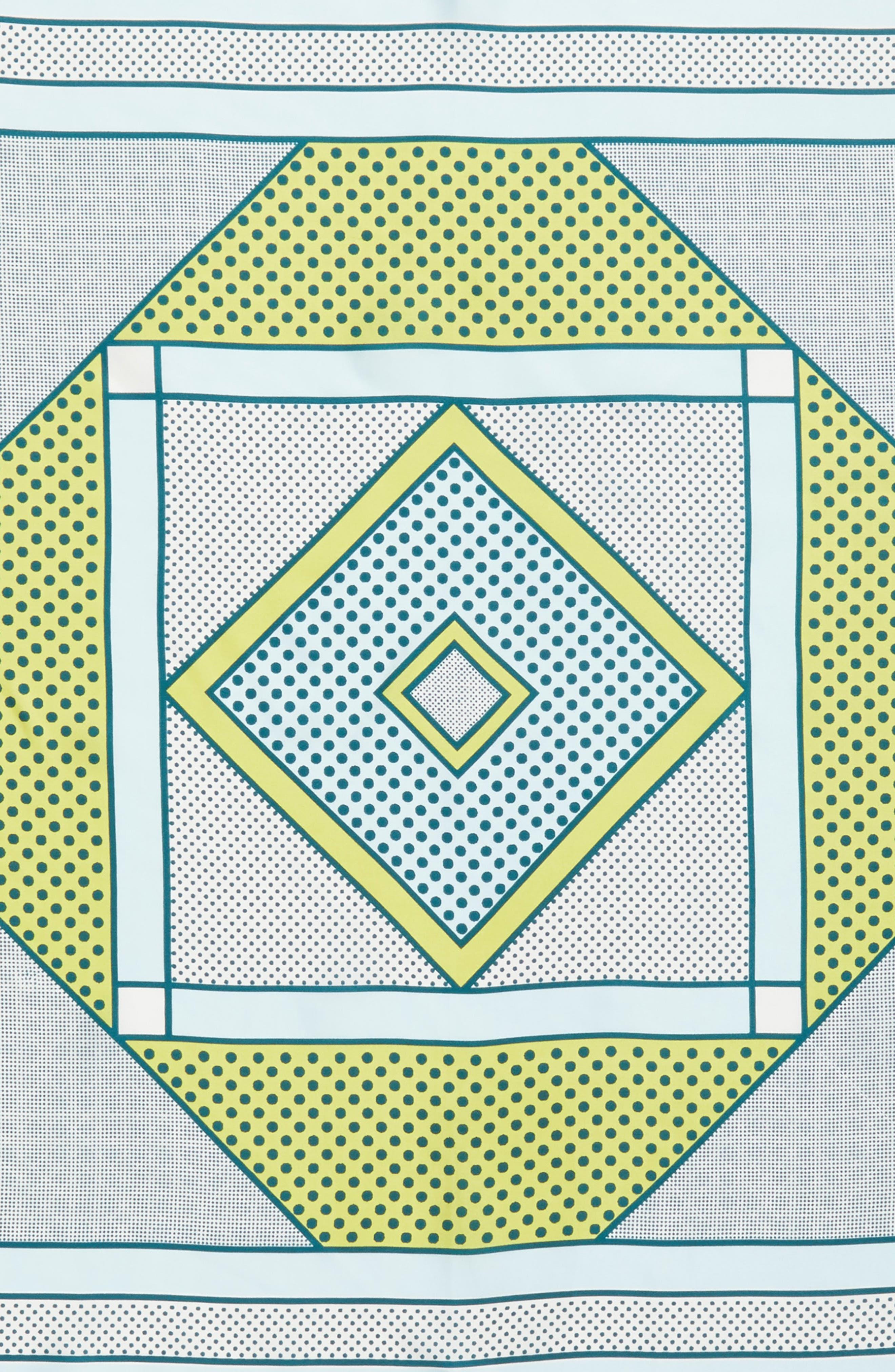 Bayside Geo Square Silk Scarf,                             Alternate thumbnail 4, color,                             Beach Glass