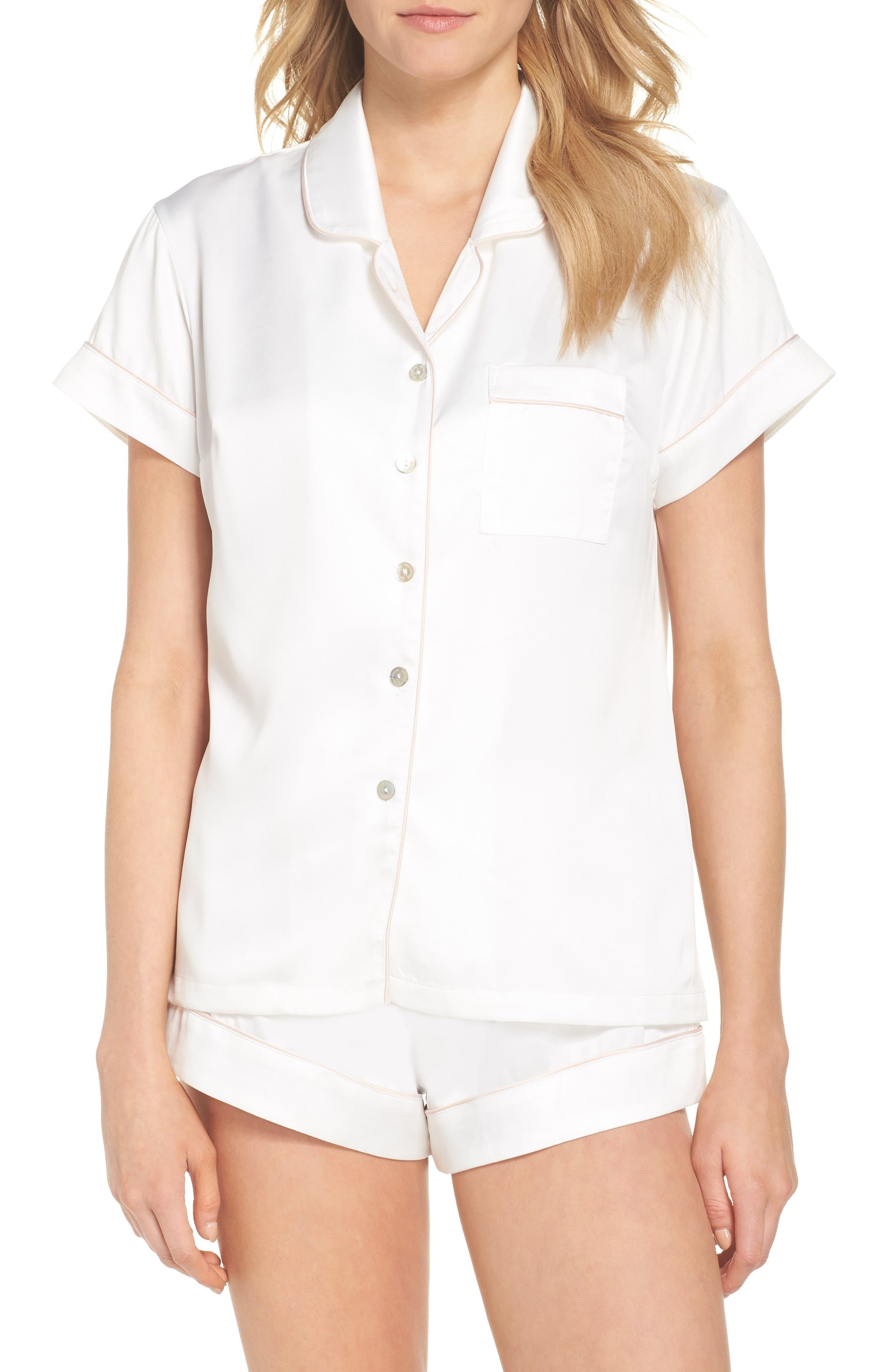 Piped Short Pajamas,                             Main thumbnail 1, color,                             White