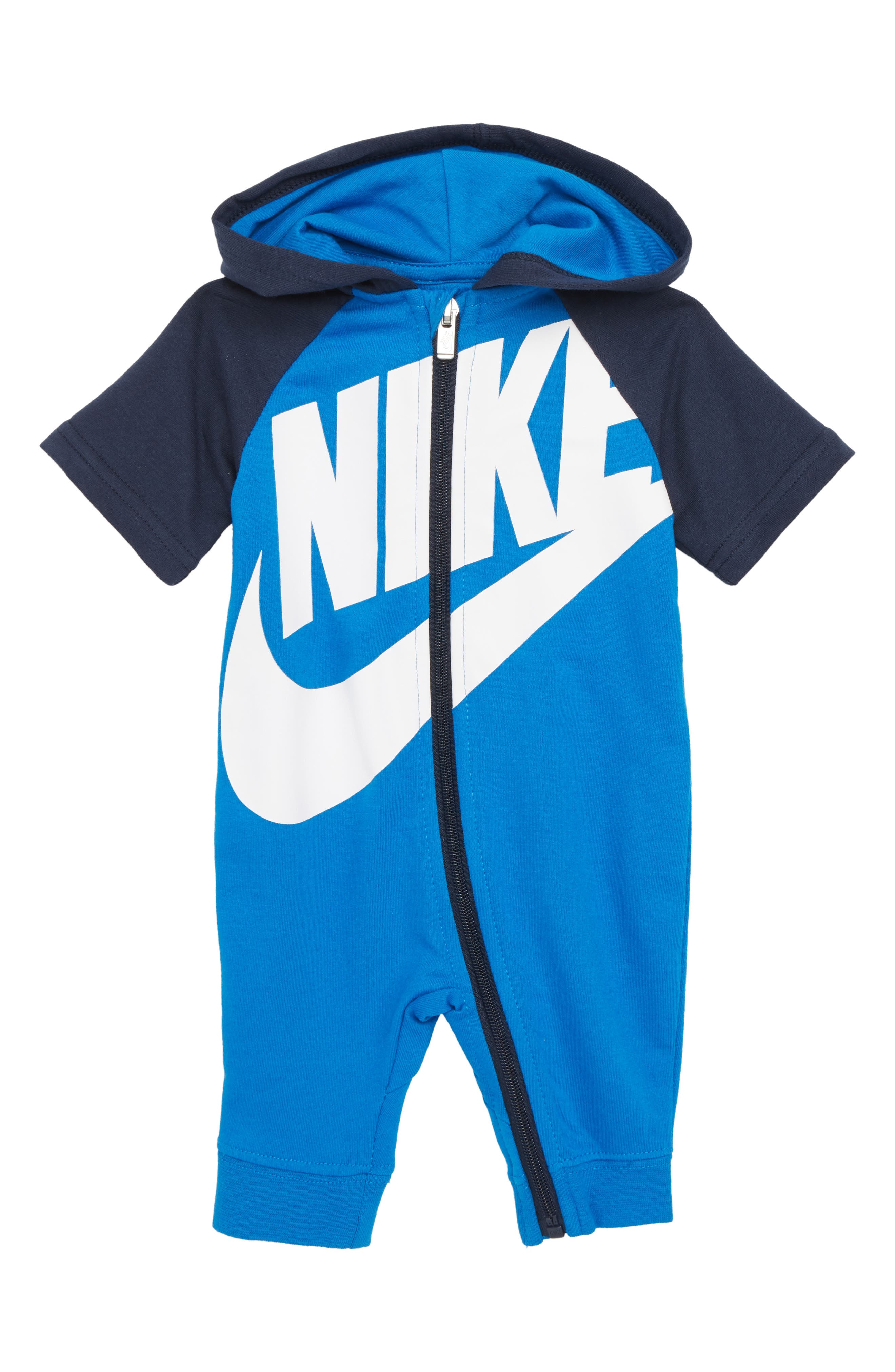 French Terry Hooded Romper,                         Main,                         color, Blue Nebula