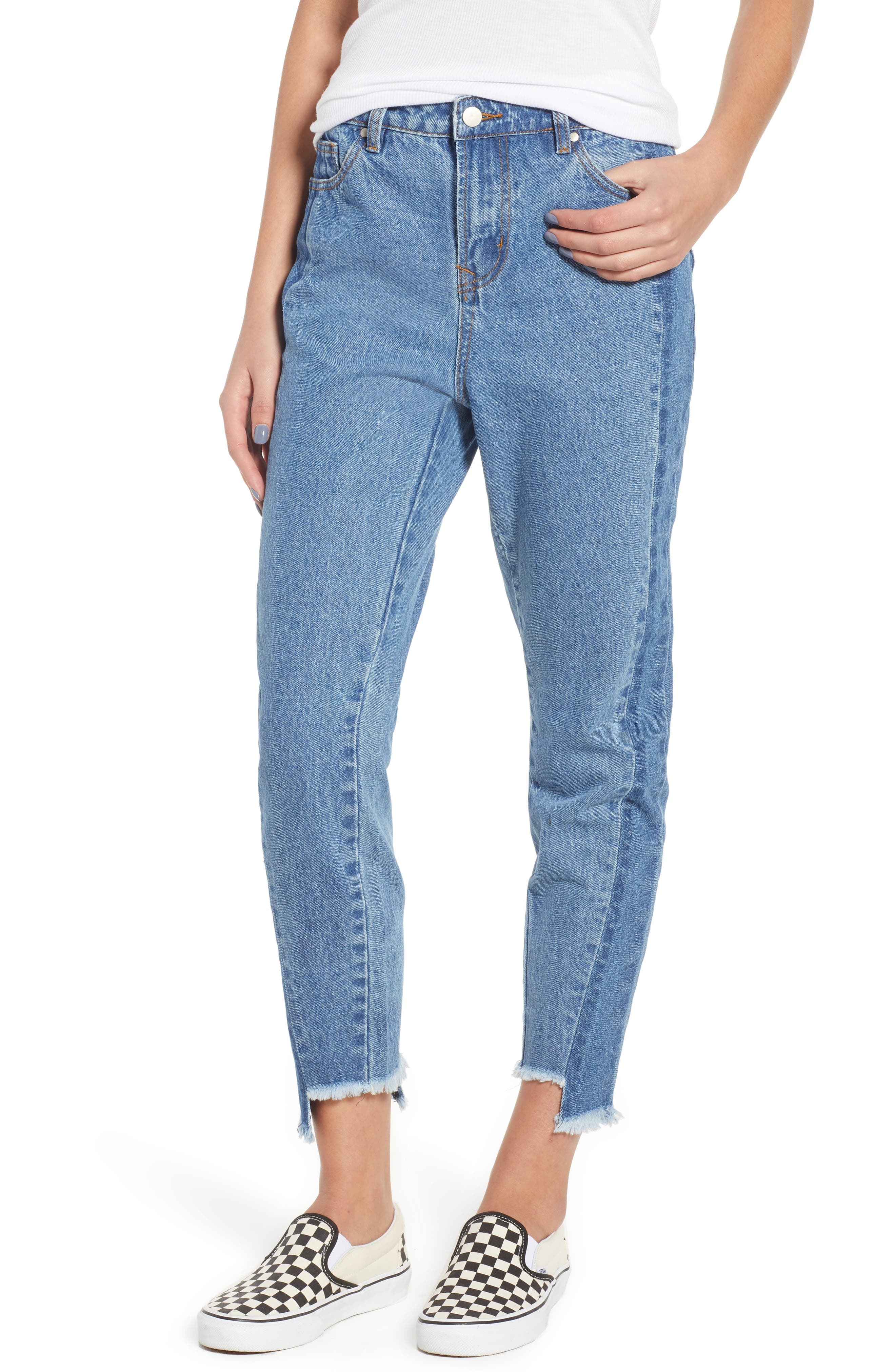 Step Hem Two-Tone Rigid Jeans,                             Main thumbnail 1, color,                             Light Med Wash