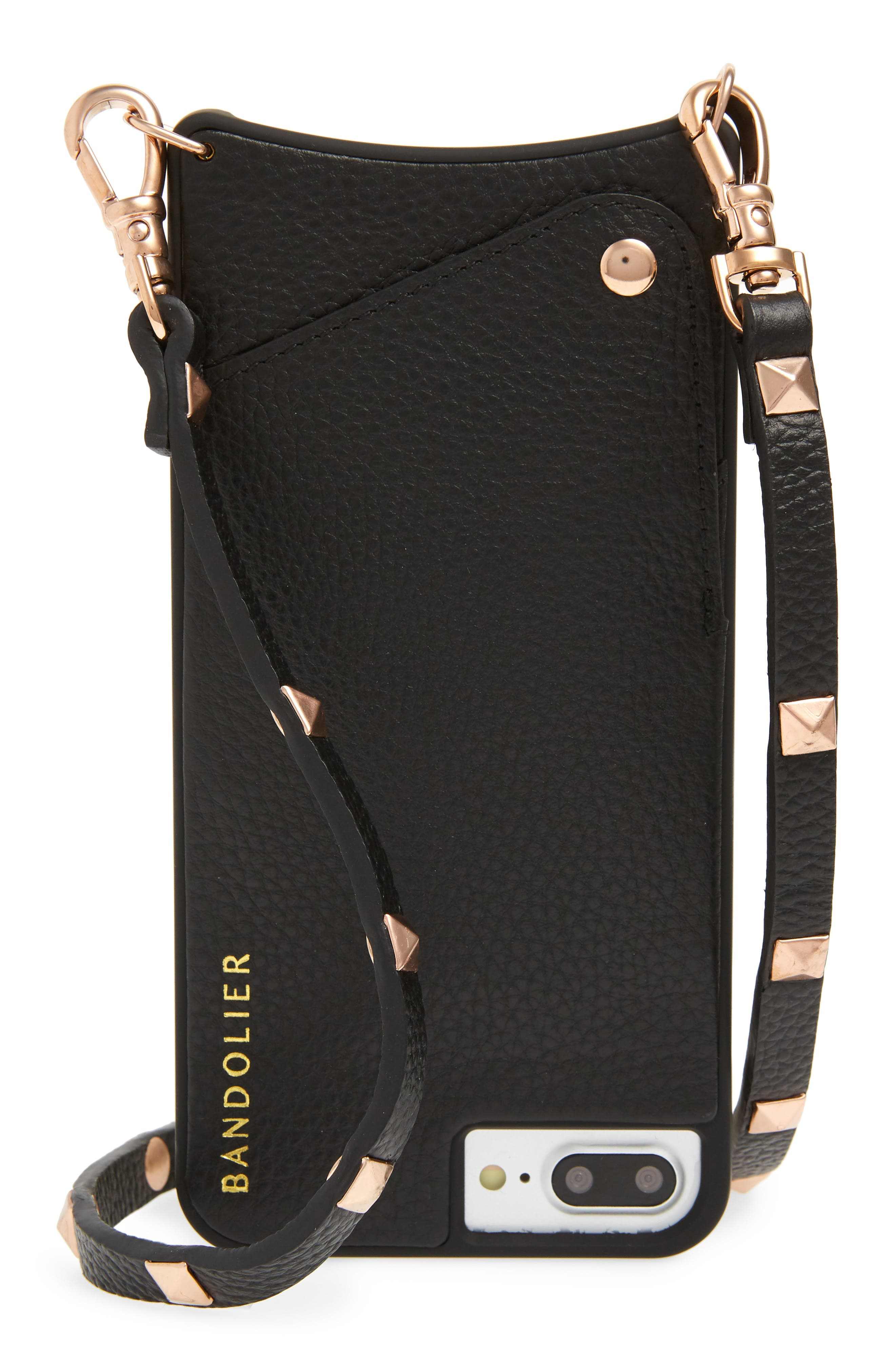 Bandolier Sarah Rose Gold & Leather iPhone 6/7/8 & 6/7/8 Plus Crossbody Case