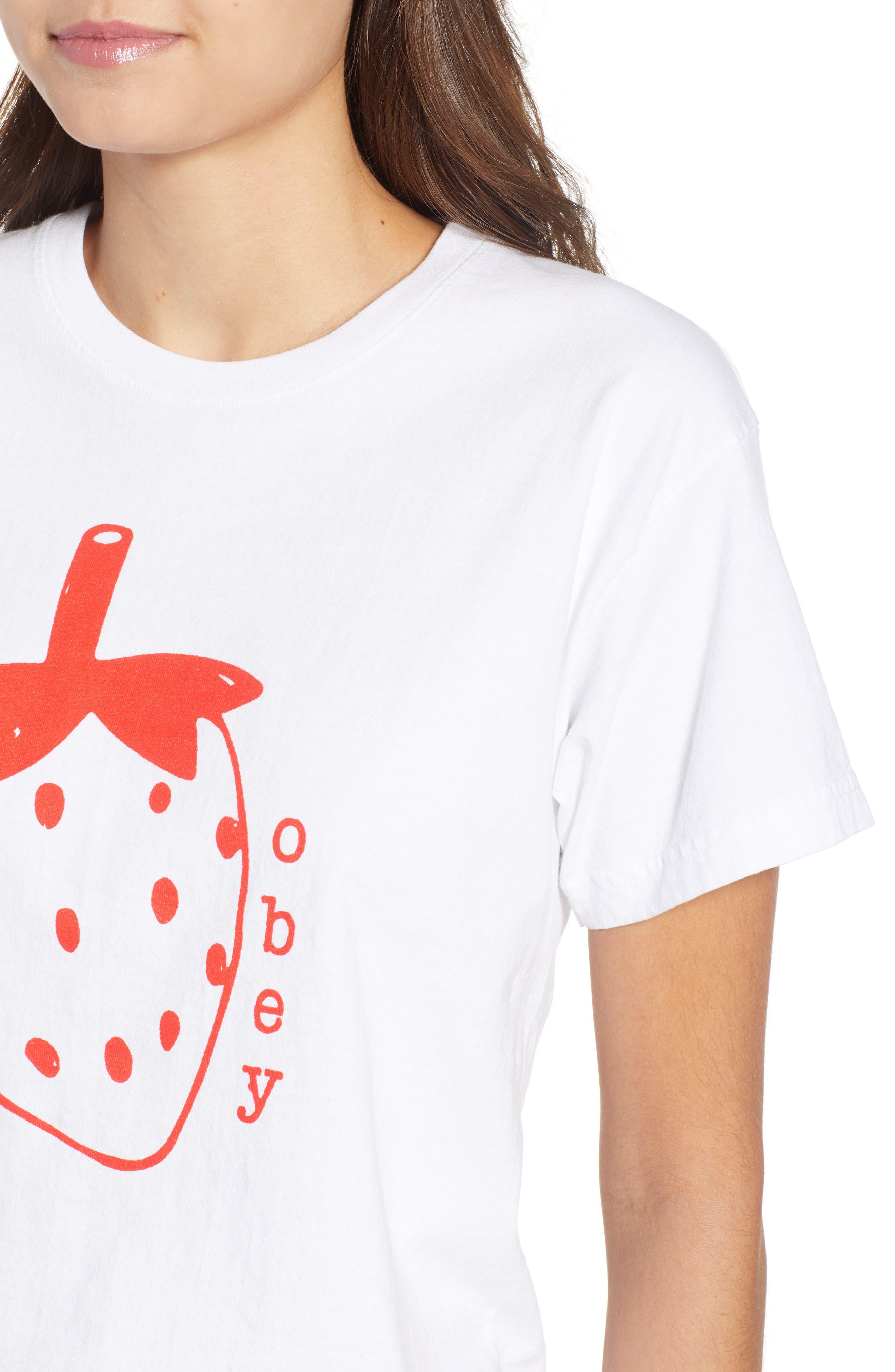 Lo-Fi Strawberry Graphic Tee,                             Alternate thumbnail 4, color,                             White
