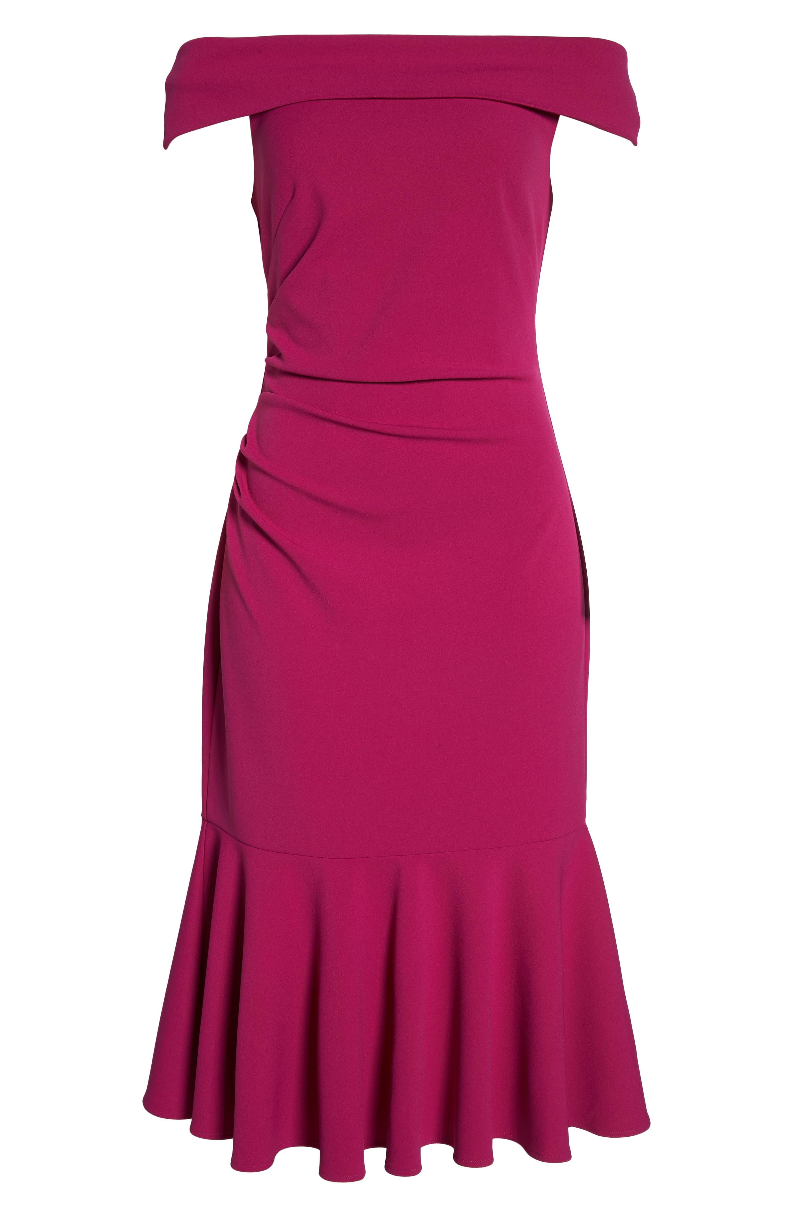 Off the Shoulder Midi Dress,                             Alternate thumbnail 7, color,                             Raspberry