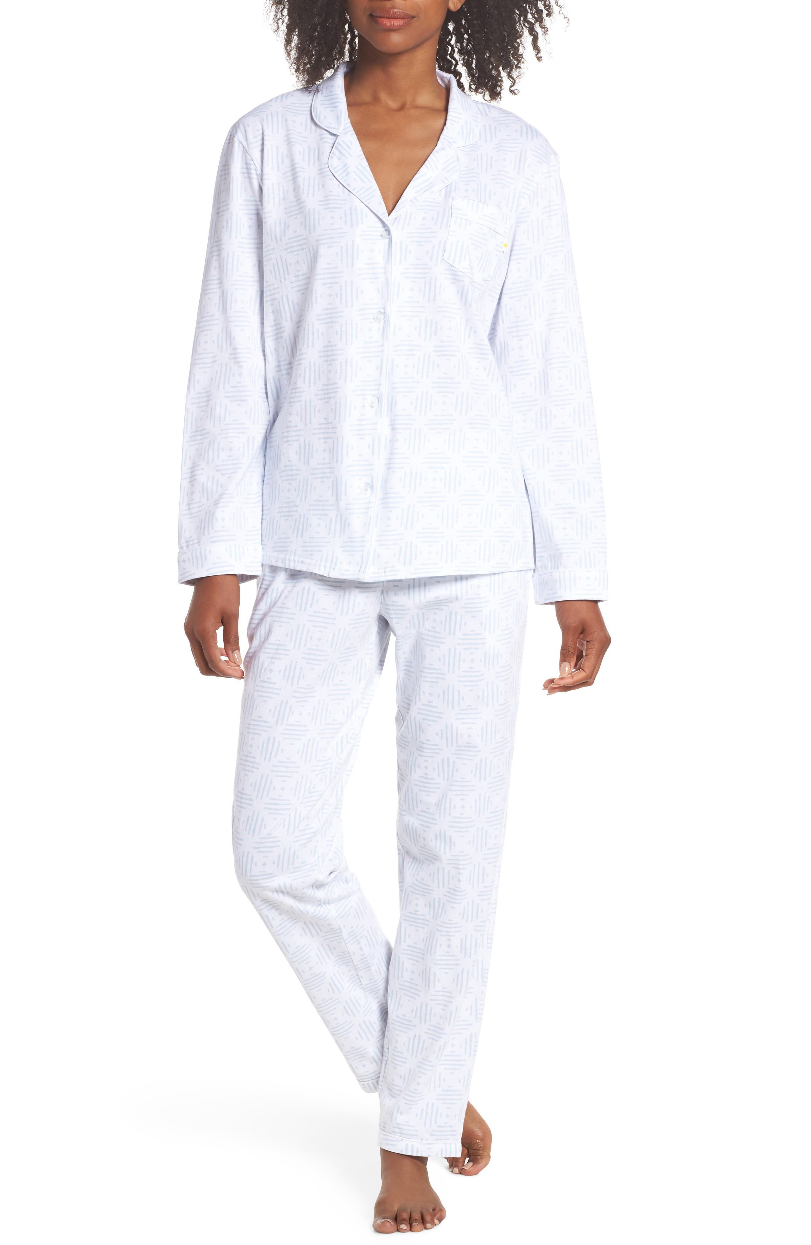 Moroccan Tile Pajamas,                             Main thumbnail 1, color,                             Moro Tile Blue