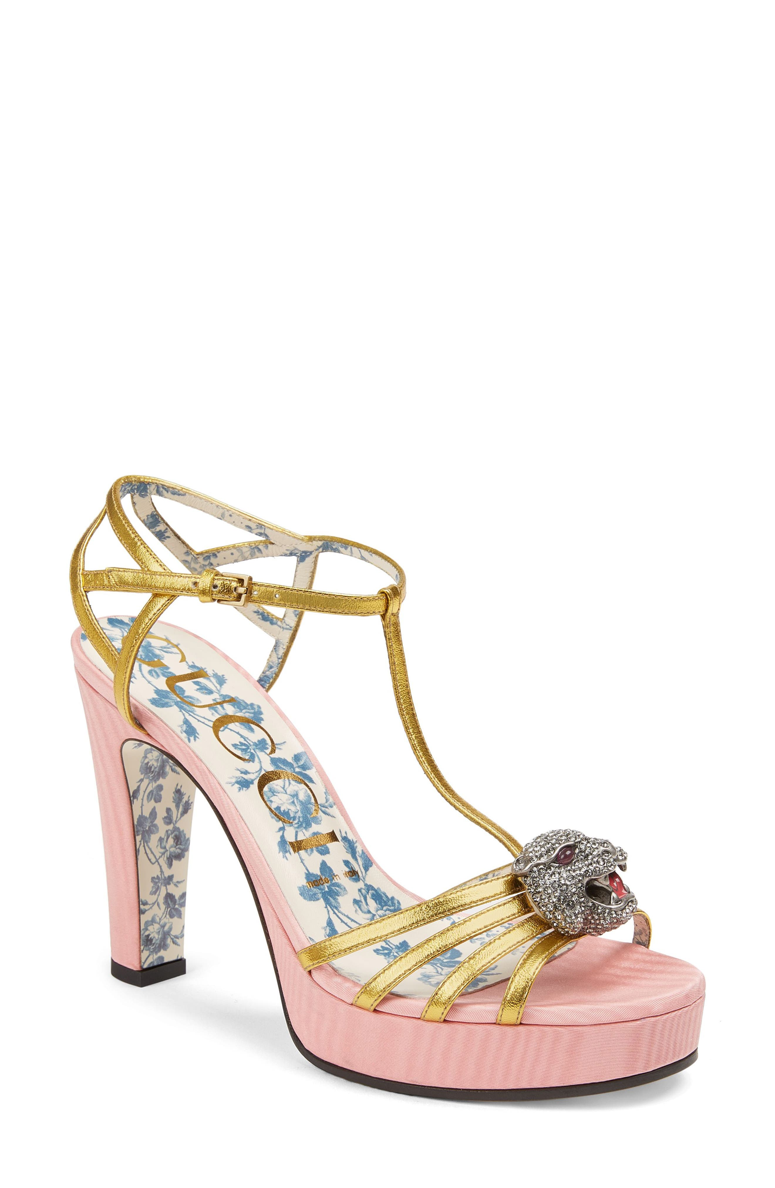 Main Image - Gucci Elias Crystal Tiger T-Strap Sandal (Women)