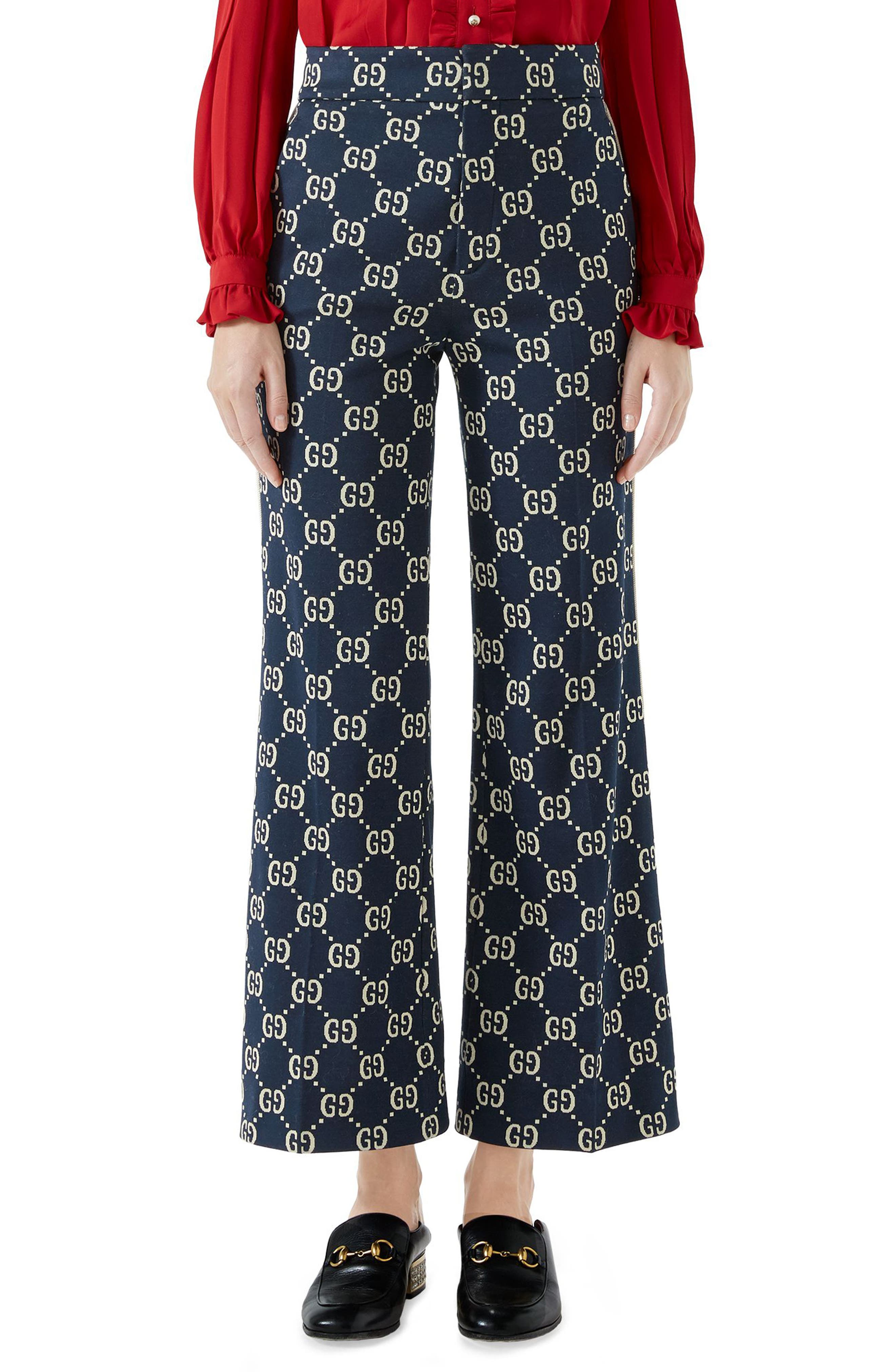 GG Embroidered Jersey Crop Pants,                         Main,                         color, Caspian/ Beige