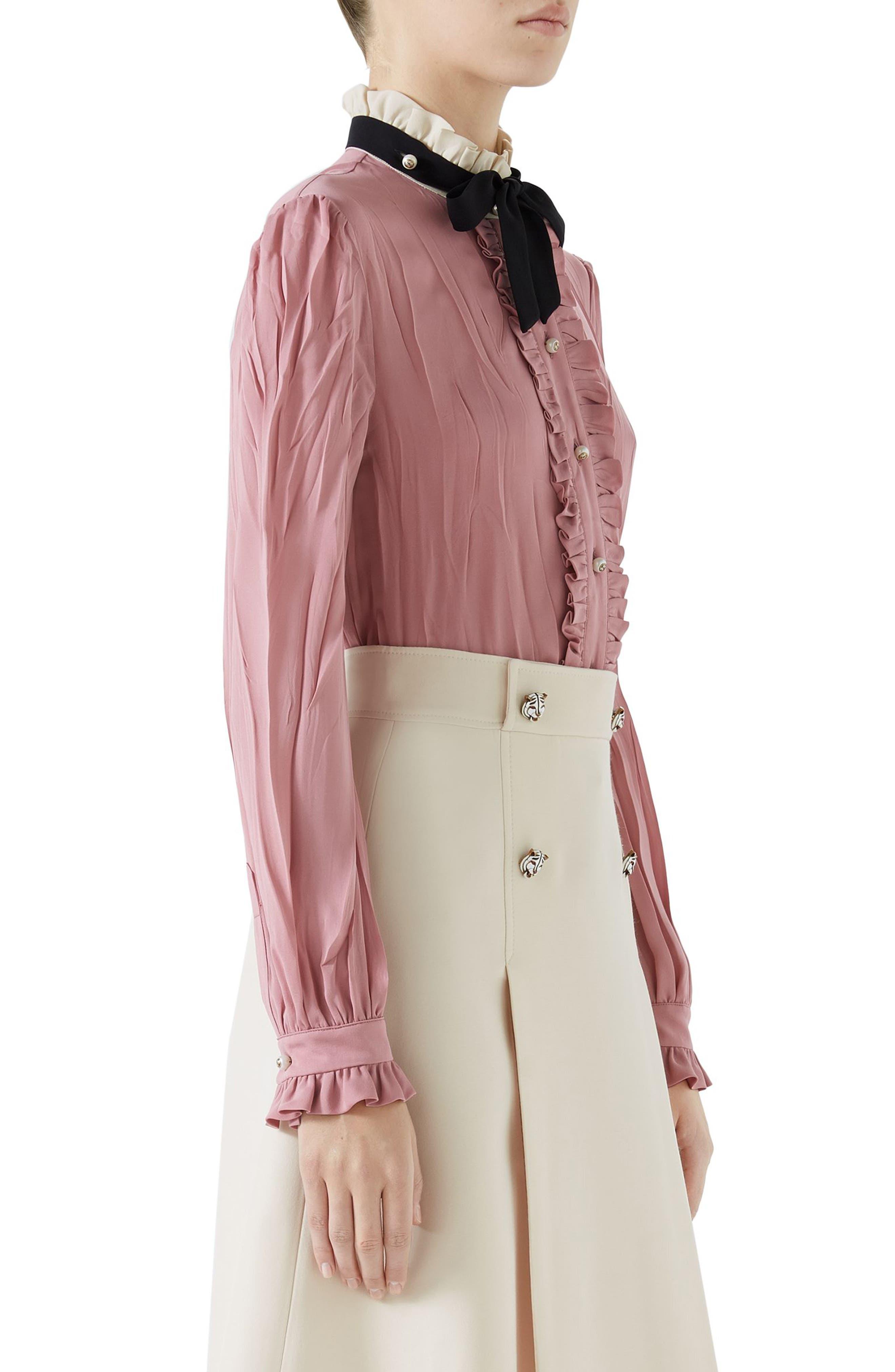 Tie Neck Ruffle Detail Silk Blouse,                             Alternate thumbnail 3, color,                             Pink