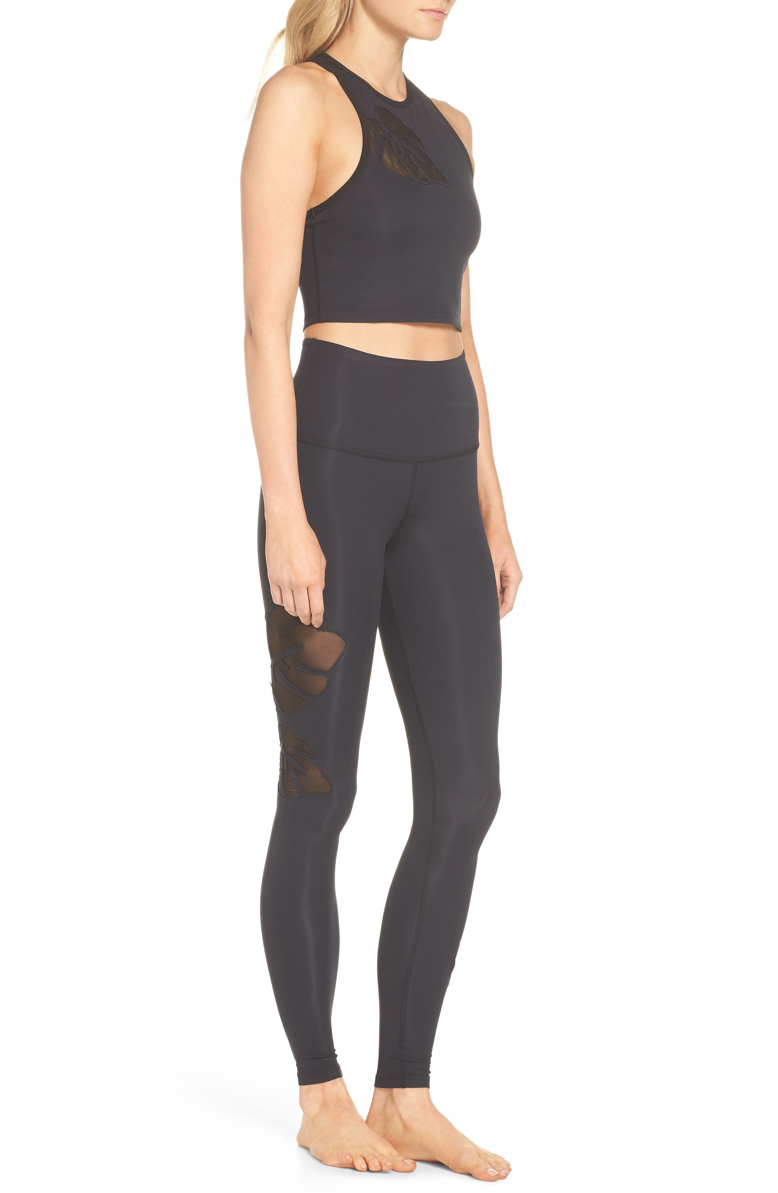 Take Leaf High Waist Leggings,                             Alternate thumbnail 8, color,                             Black