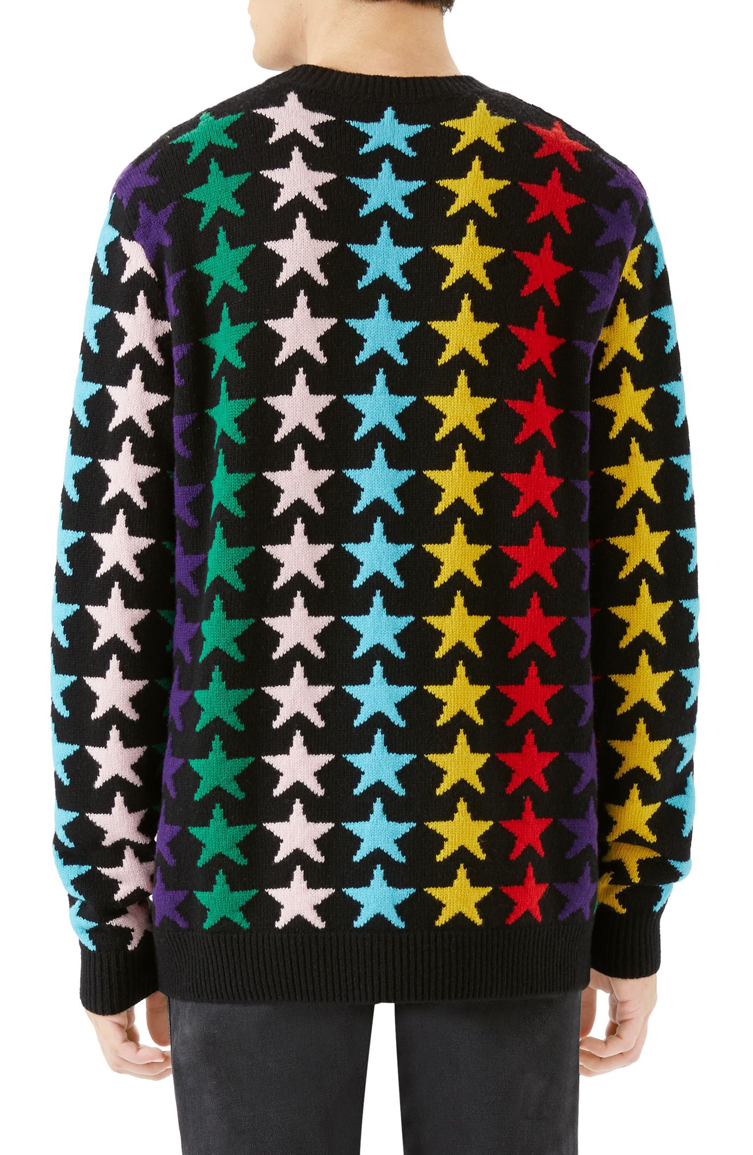 Allover Jacquard Stars Wool Sweater,                             Alternate thumbnail 2, color,                             Black