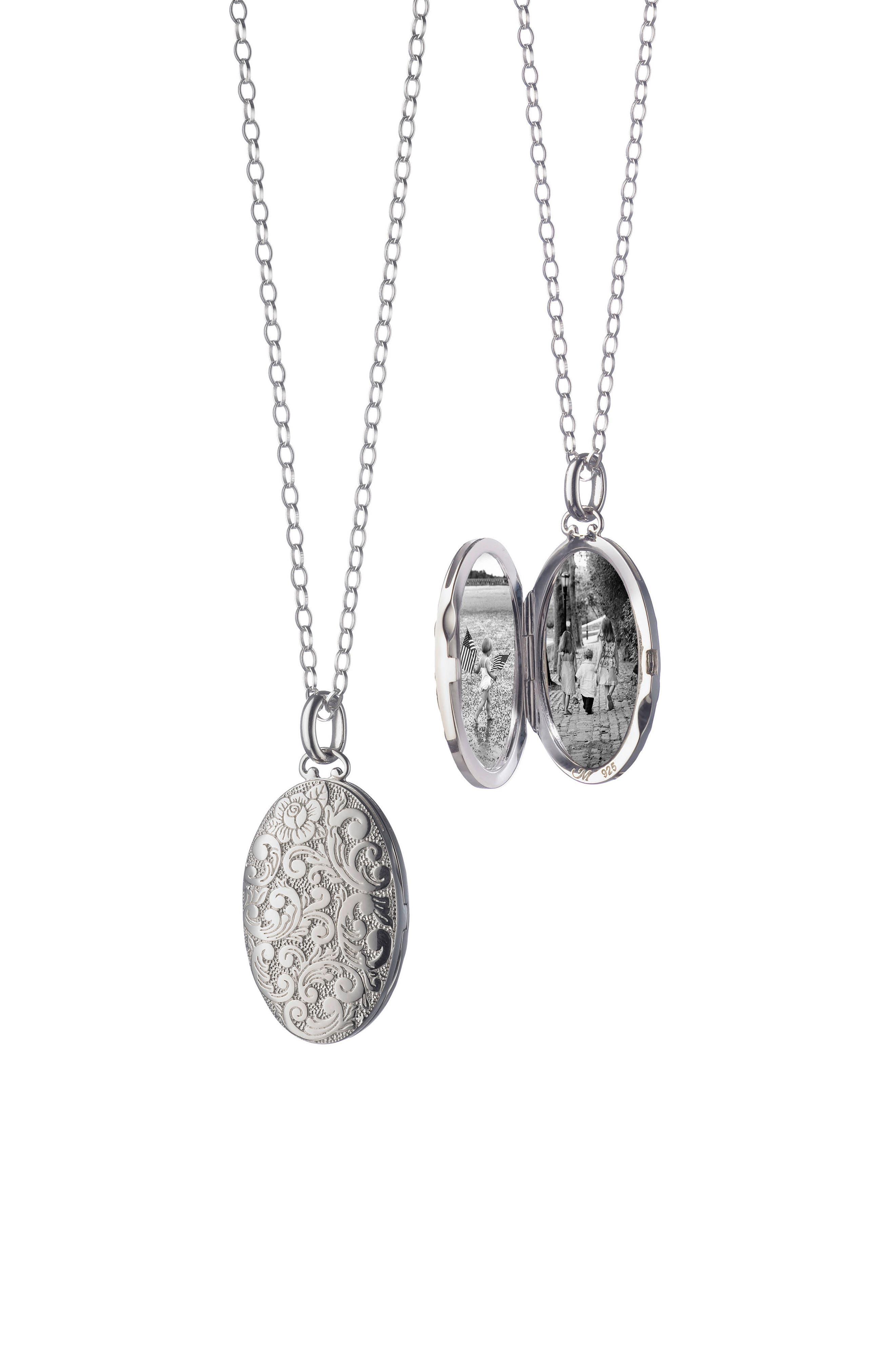 Floral Pattern Locket Necklace,                         Main,                         color, Sterling Silver