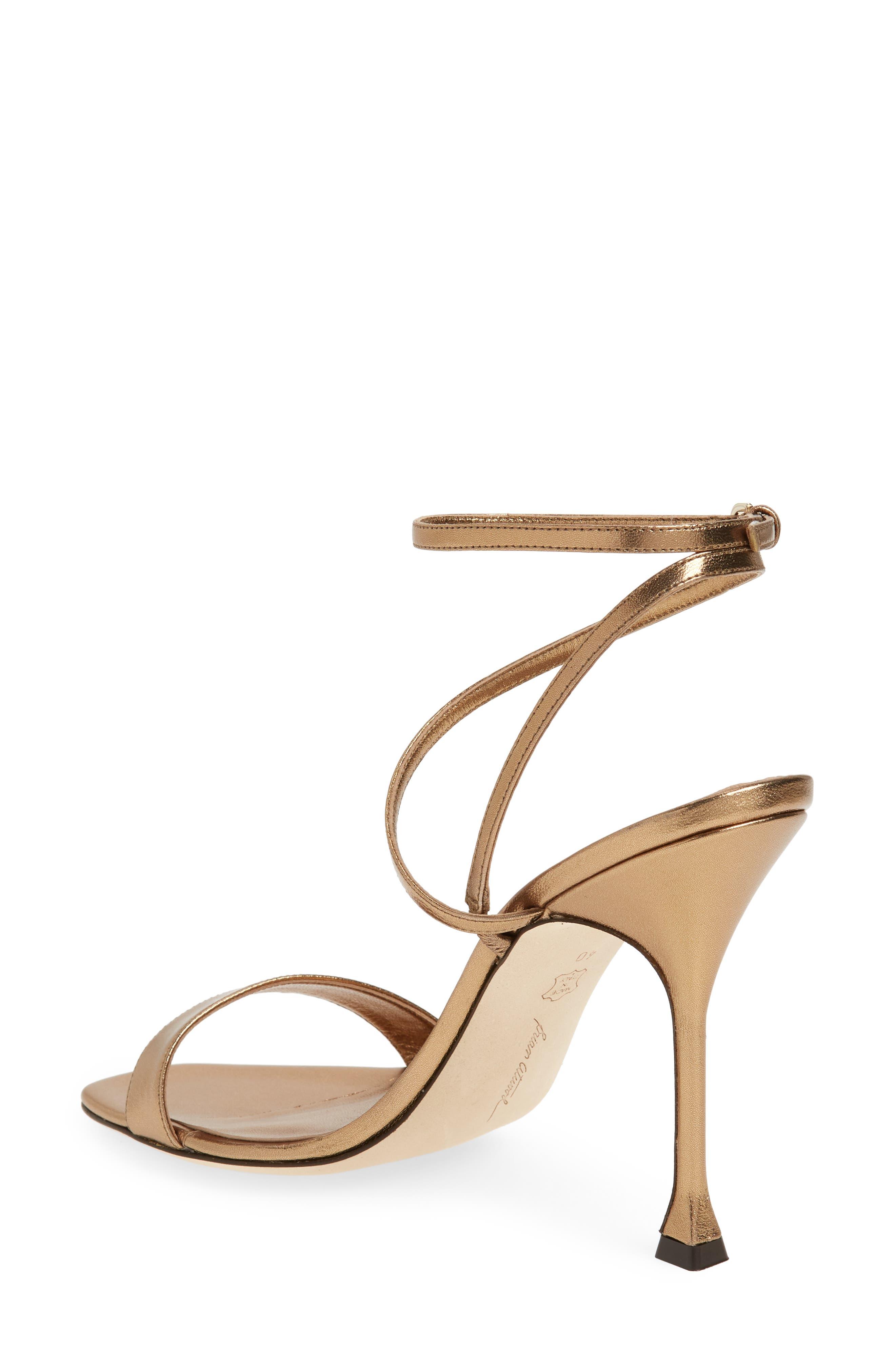 Sienna Ankle Strap Sandal,                             Alternate thumbnail 2, color,                             Bronze Metal Nappa