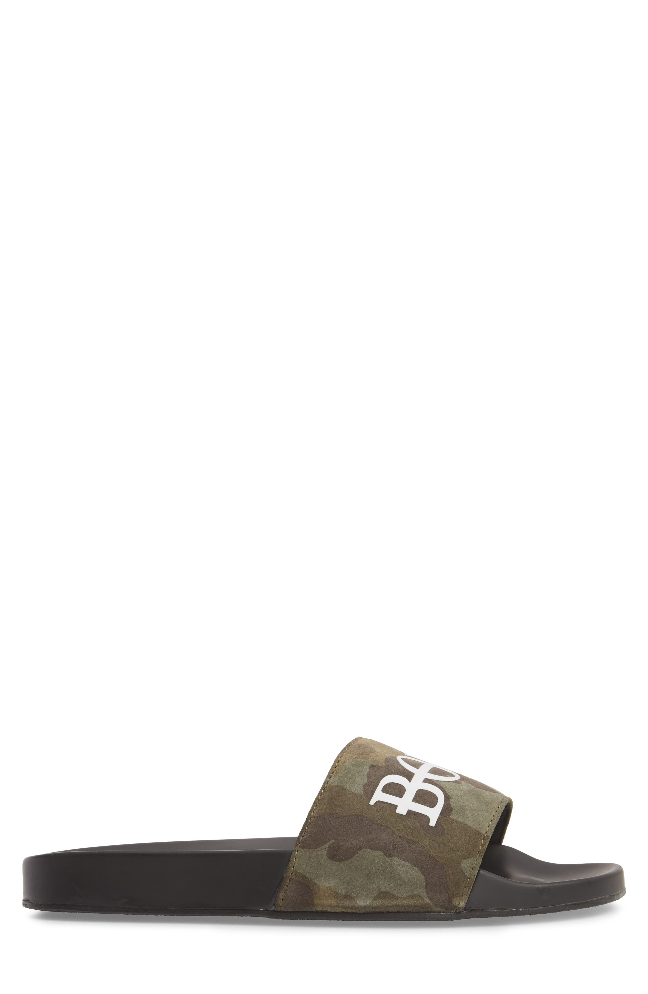 HB Sport Slide,                             Alternate thumbnail 3, color,                             Green Camo Suede