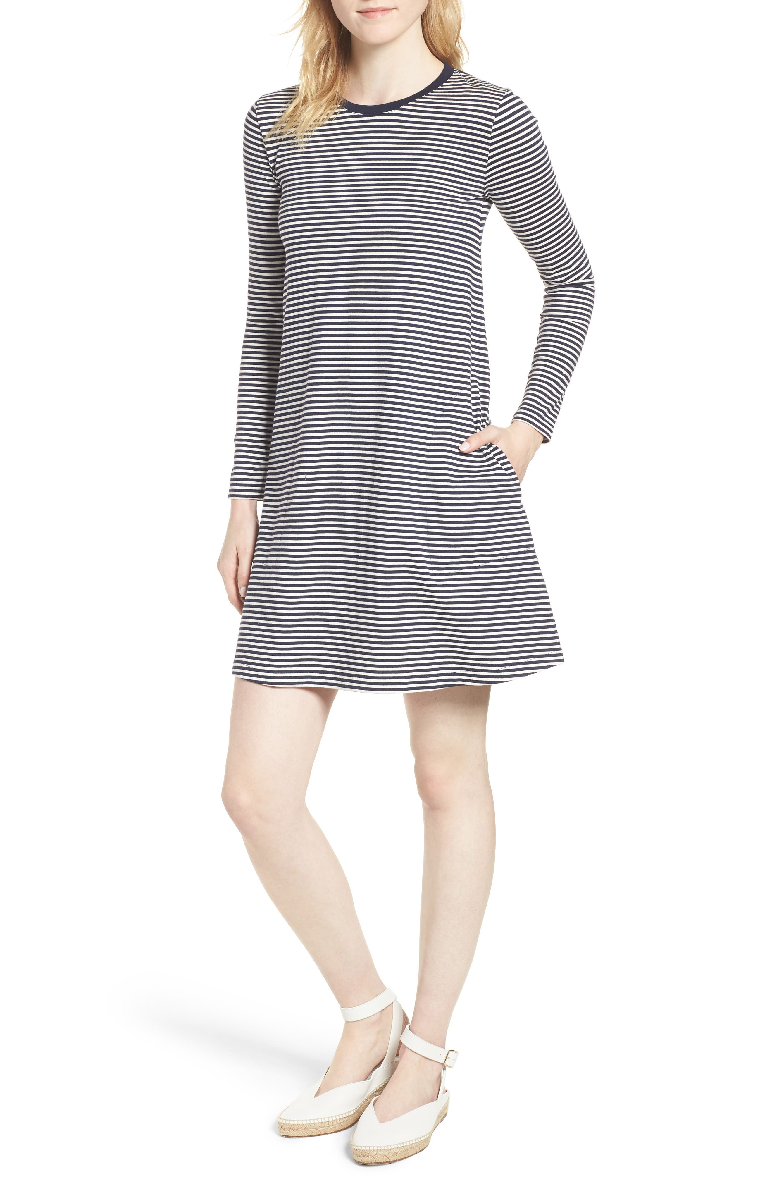 J.Crew Easy Pocket Cotton Knit Stripe Dress