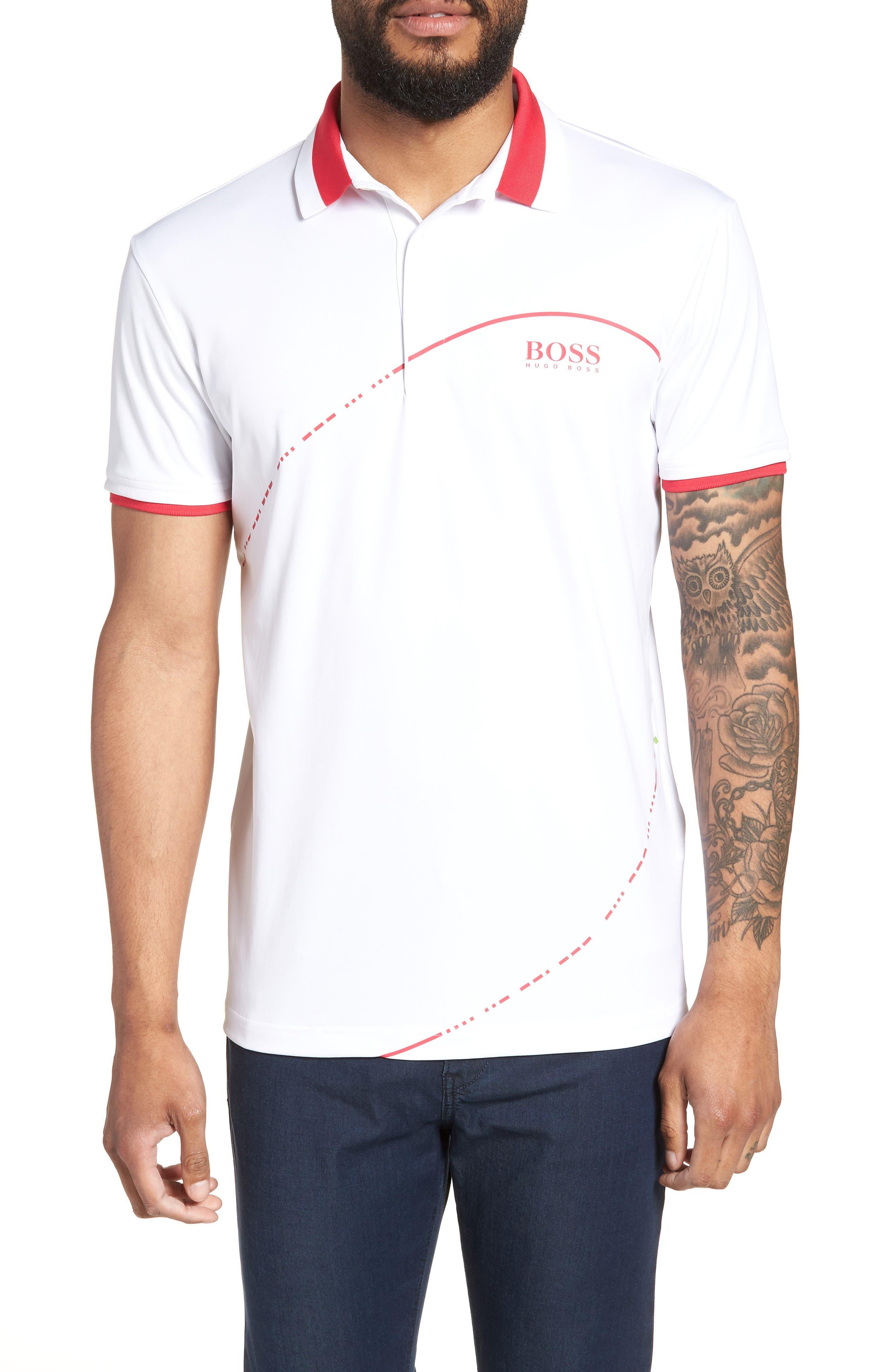 Boss Orange Mens Pascha Polo Shirt Mens T-Shirt Shop Mens T-Shirts & Vests COLOUR-navy