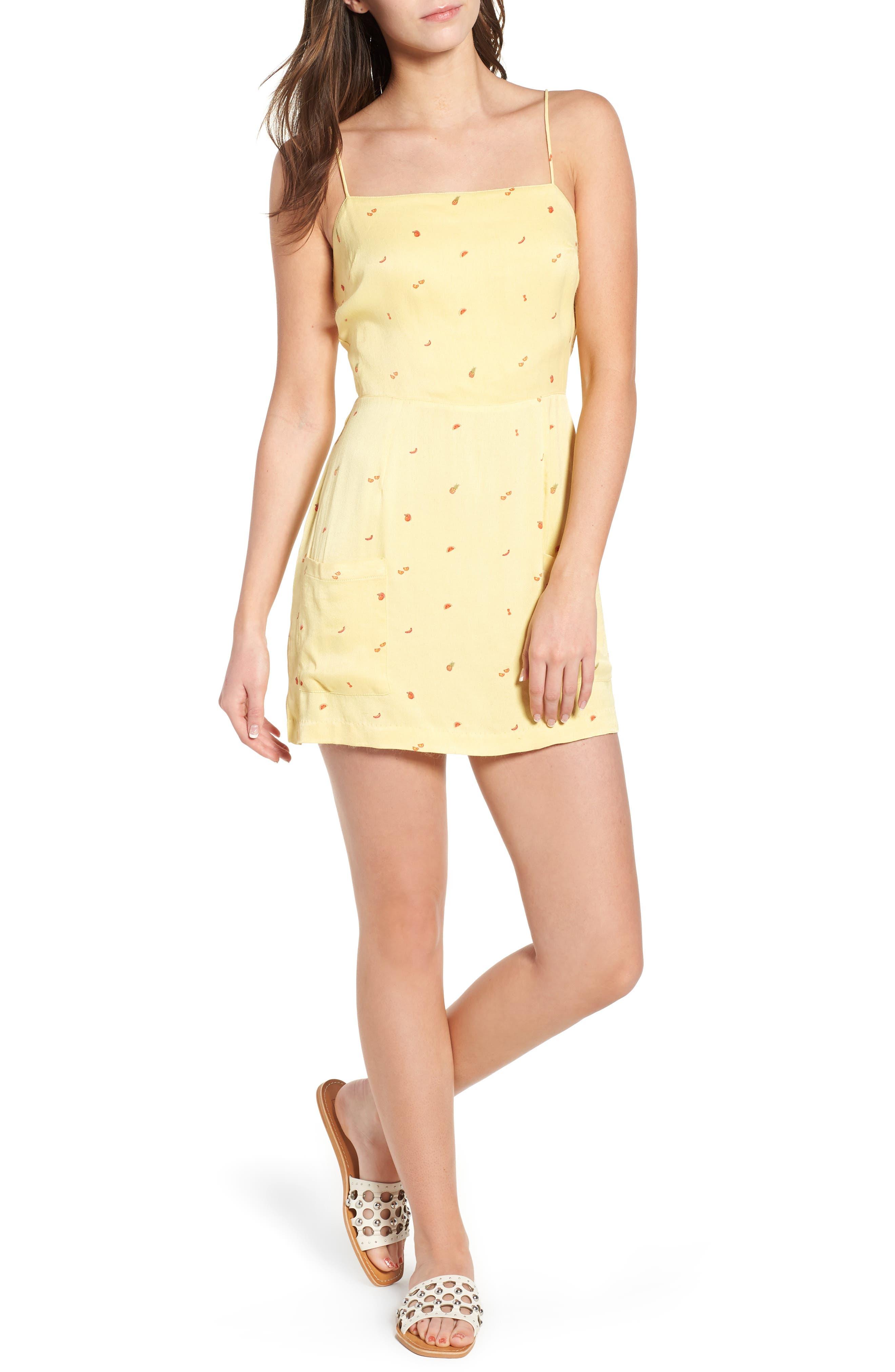 Shilo Fruit Print Minidress,                         Main,                         color, Yellow Multi