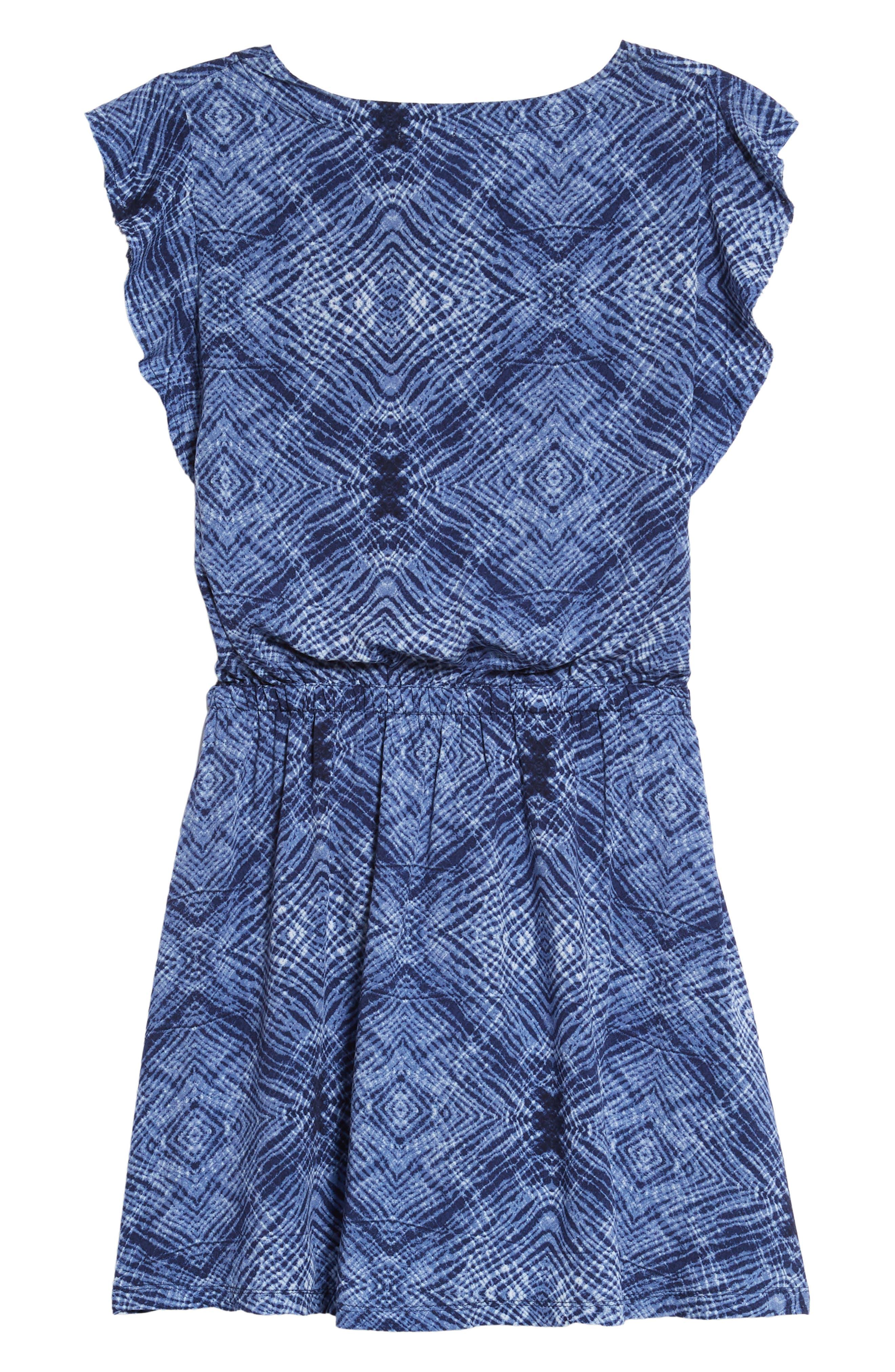 Print Voile Dress,                             Alternate thumbnail 2, color,                             Navy