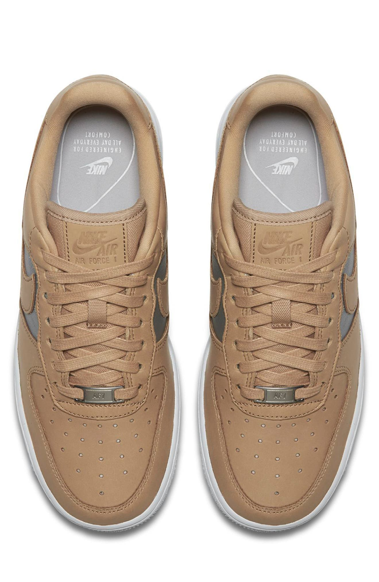 Air Force 1 '07 SE Premium Sneaker,                             Alternate thumbnail 4, color,                             Beige/ Silver/ White