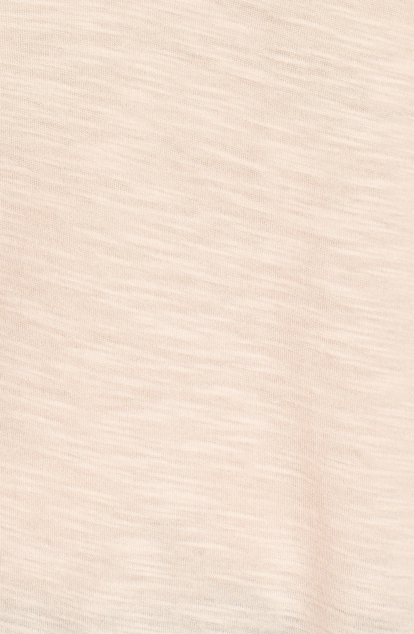 Ruffle Sleeve Mixed Media Top,                             Alternate thumbnail 6, color,                             French Peach