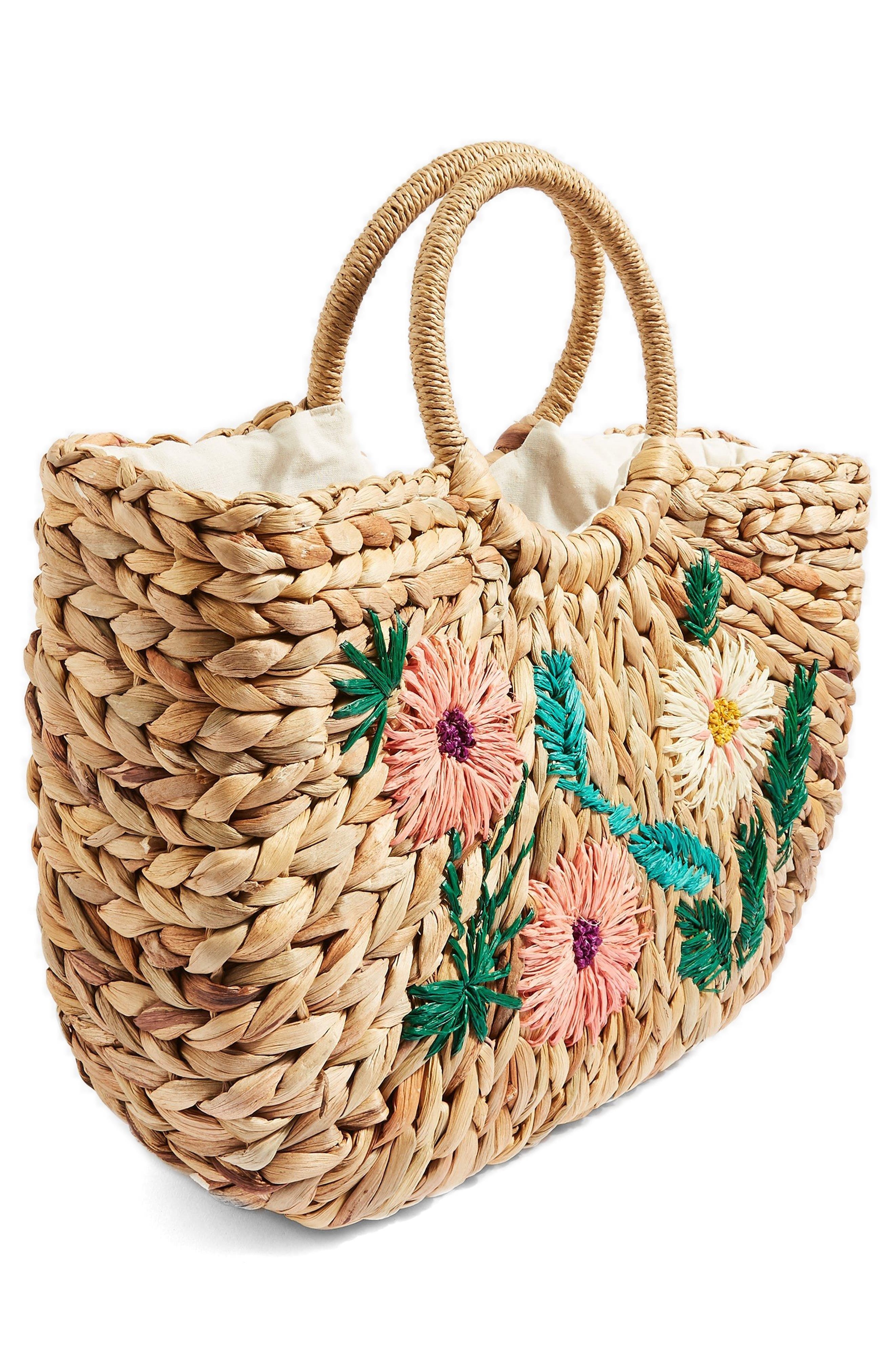 Beverly Floral Embroidered Straw Tote Bag,                             Alternate thumbnail 3, color,                             Nude Multi