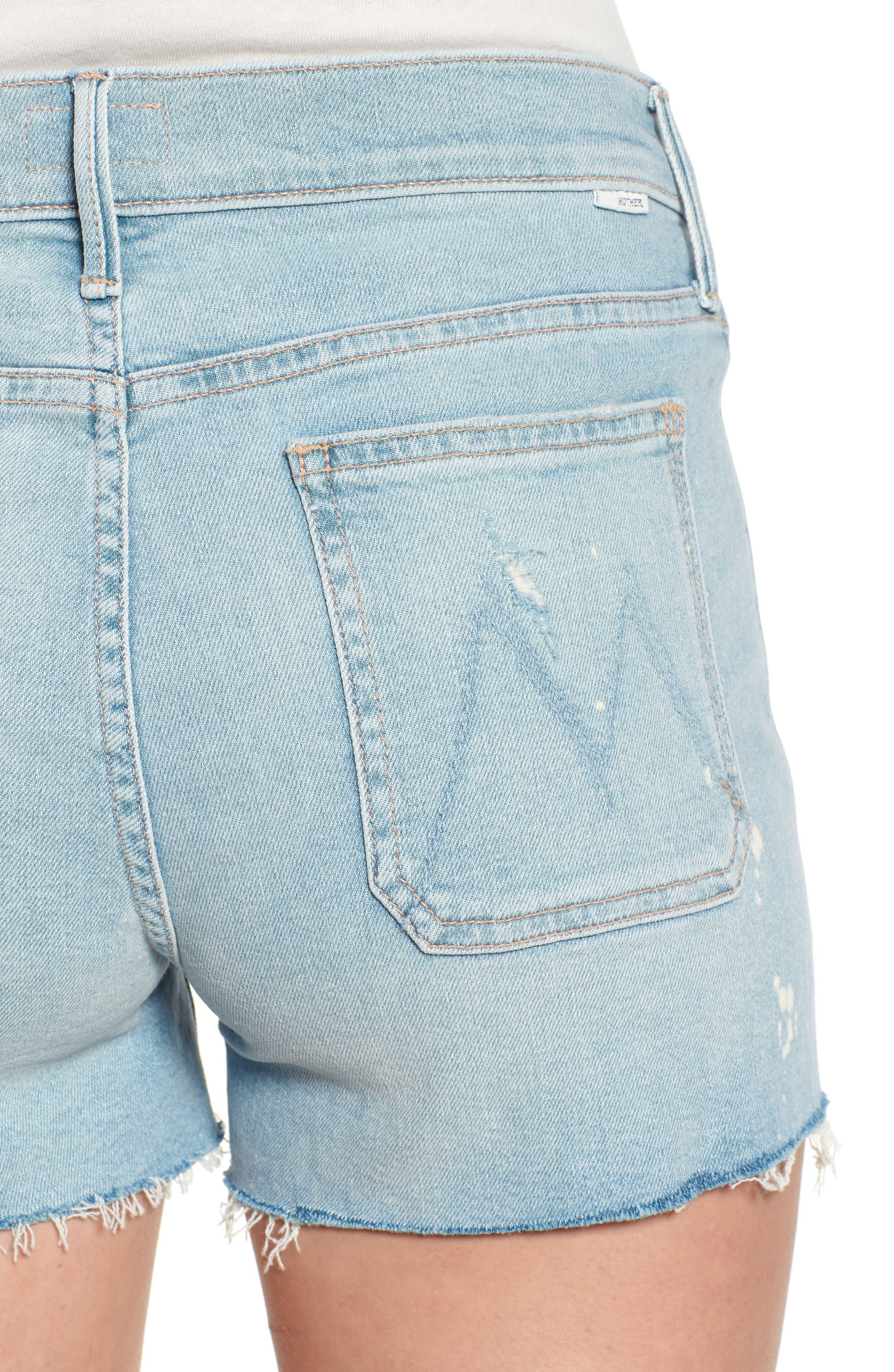 The Patchie Denim Shorts,                             Alternate thumbnail 4, color,                             Nice Shot