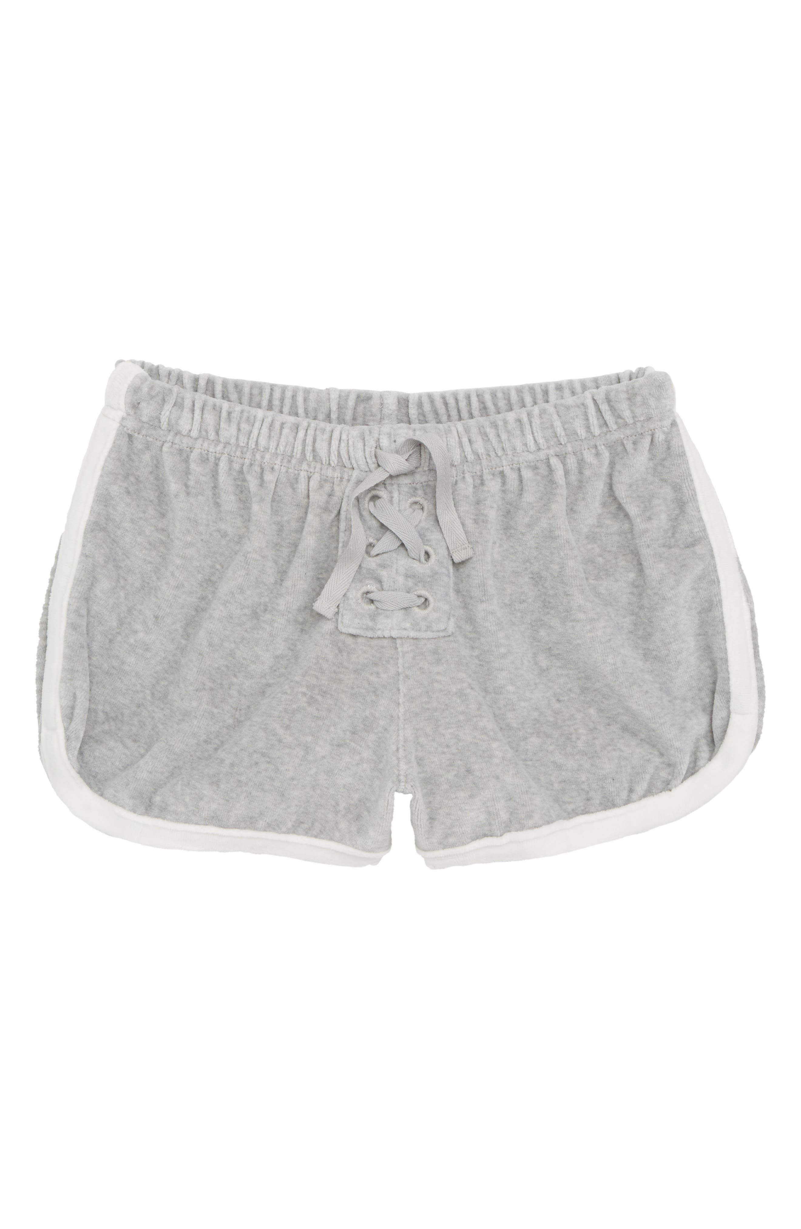 Velour Track Shorts,                         Main,                         color, Grey Ash Heather