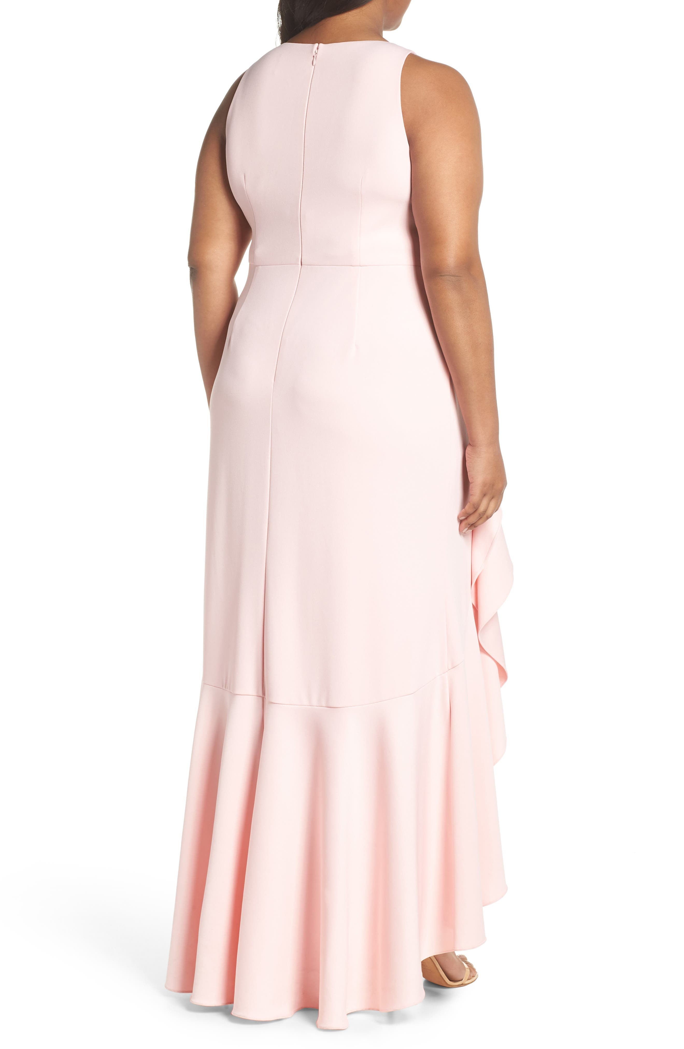 Cascade Crepe Gown,                             Alternate thumbnail 2, color,                             Pale Shell