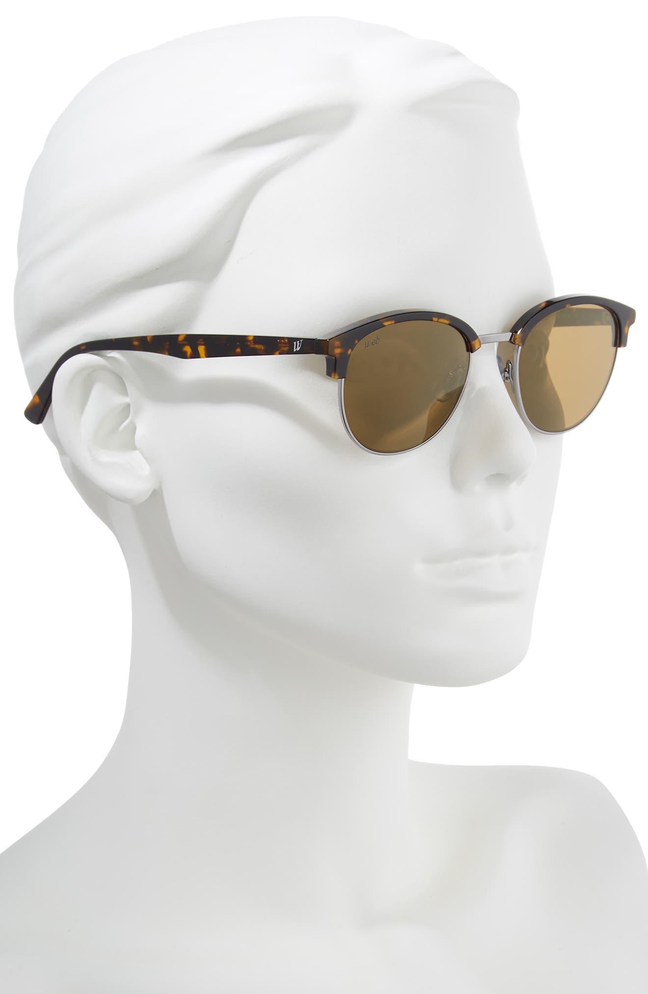 49mm Half Rim Sunglasses,                             Alternate thumbnail 2, color,                             Shiny Gunmetal/ Brown Mirror