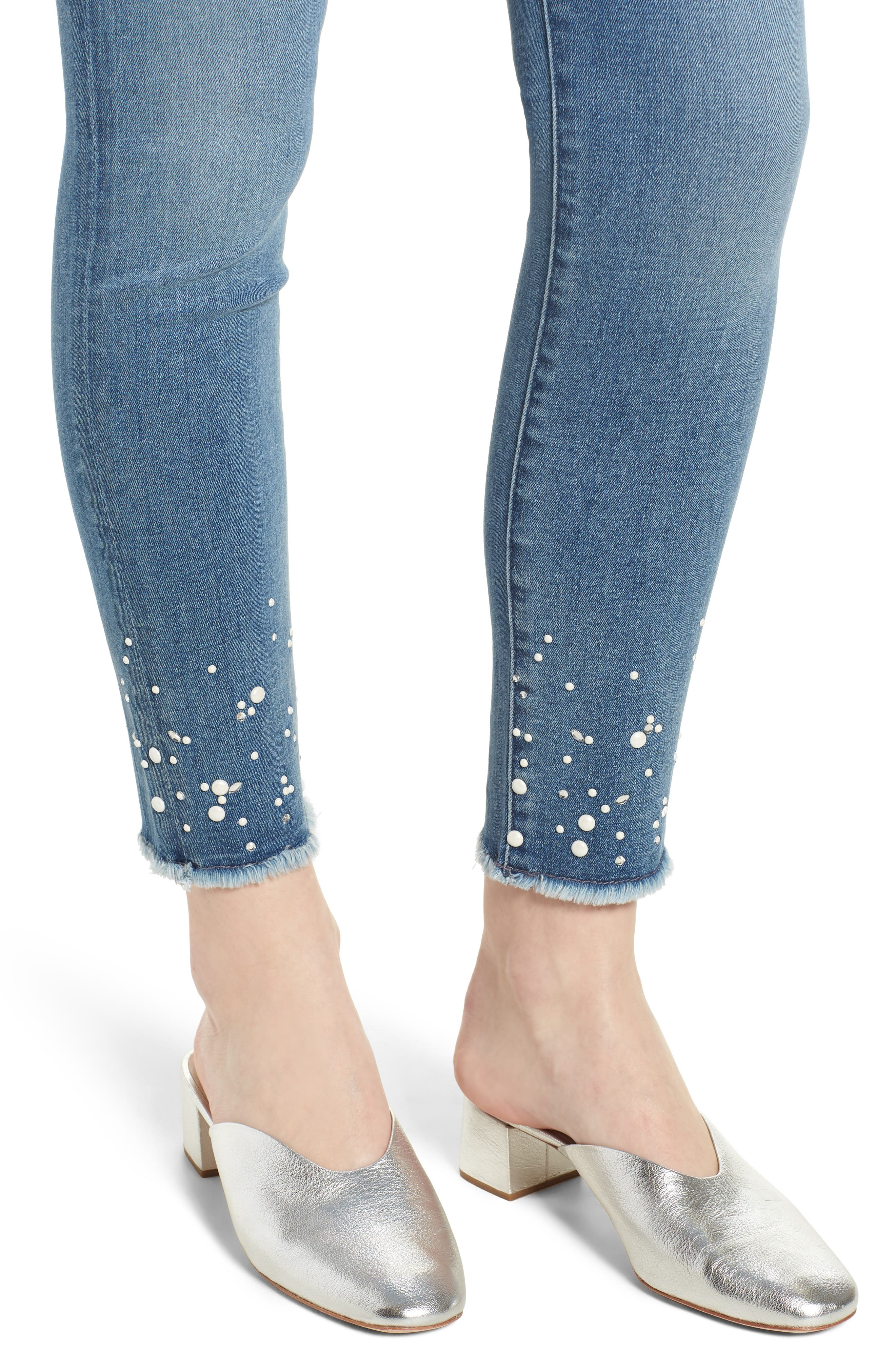 Embellished Hem Ankle Skinny Jeans,                             Alternate thumbnail 4, color,                             Sunlight