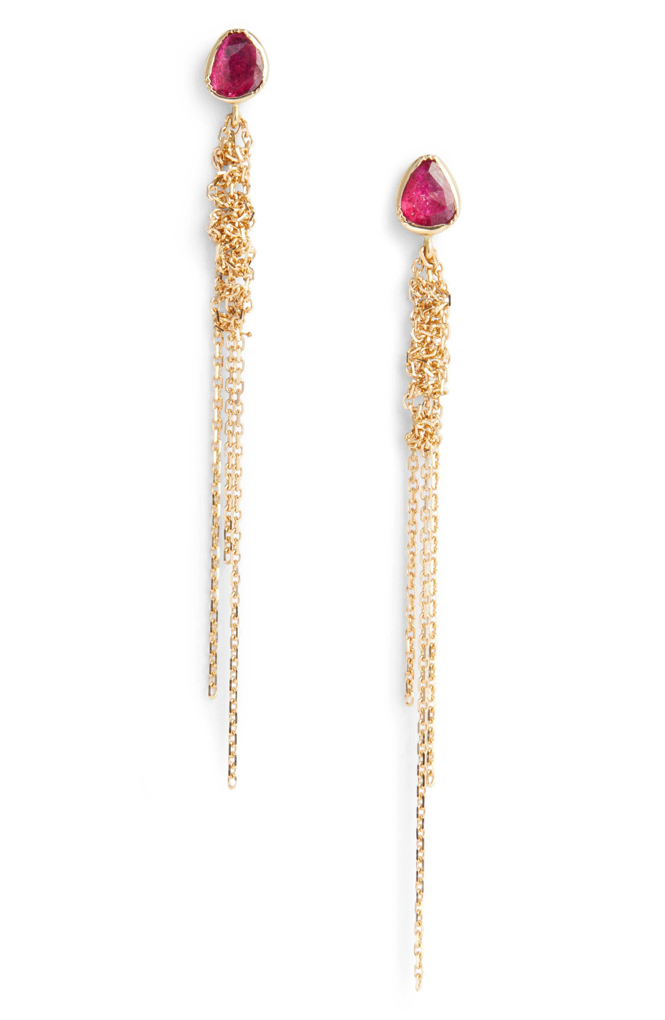 Waterfall Ruby Earrings,                         Main,                         color, Gold
