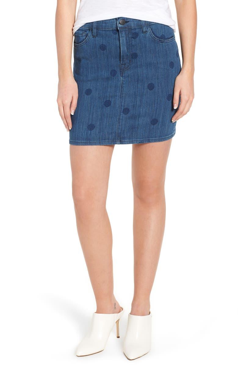 Lyla Print Denim Miniskirt