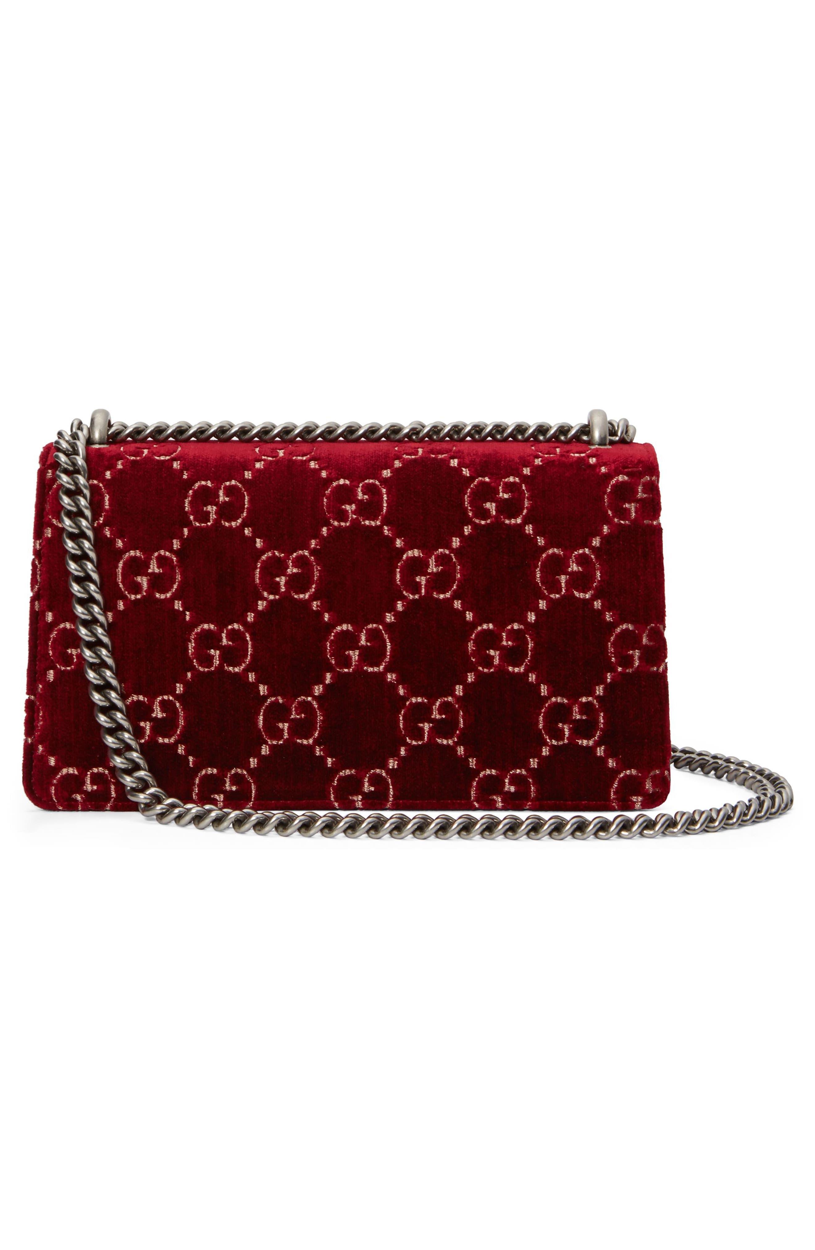 Small Dionysus GG Velvet Shoulder Bag,                             Alternate thumbnail 2, color,                             Red Cipria/ Black Diamond