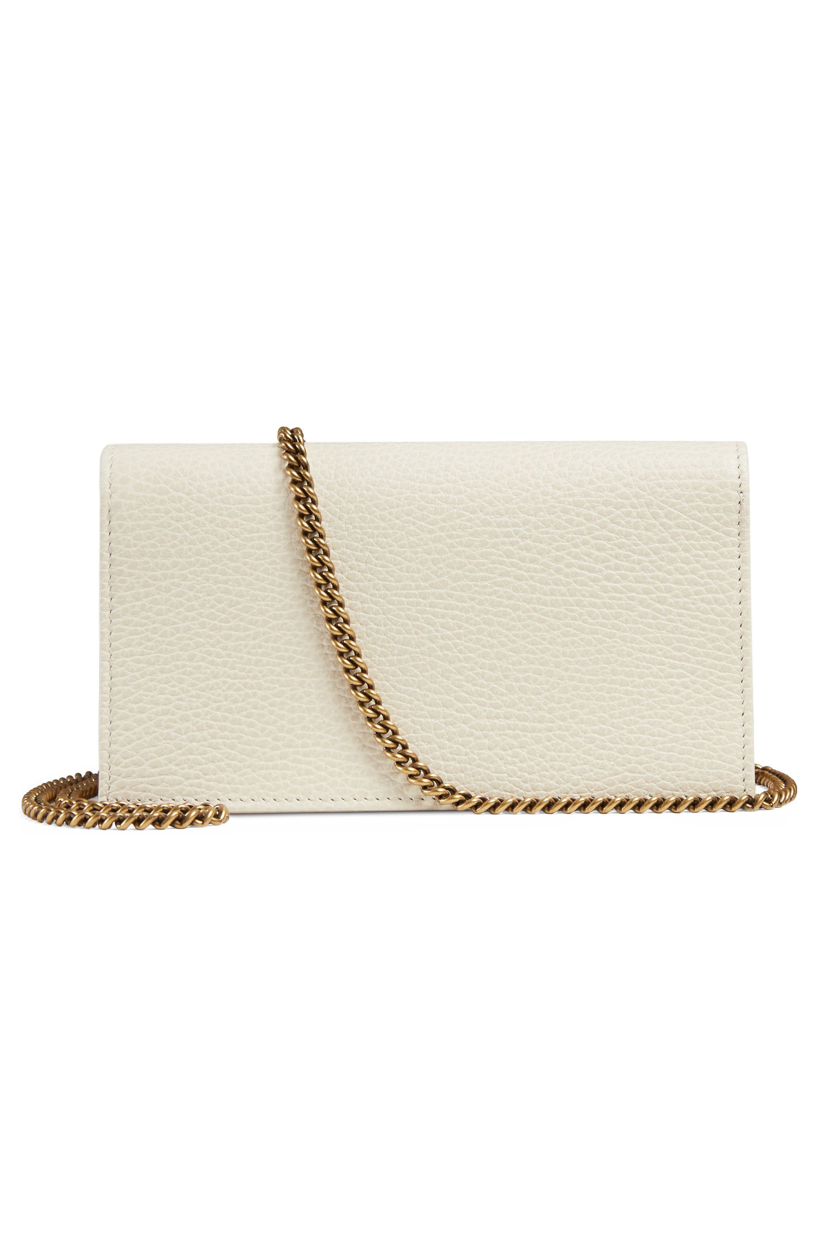 Fiocchino Leather Wallet on a Chain,                             Alternate thumbnail 3, color,                             Mystic White/ Pink/ Crystal
