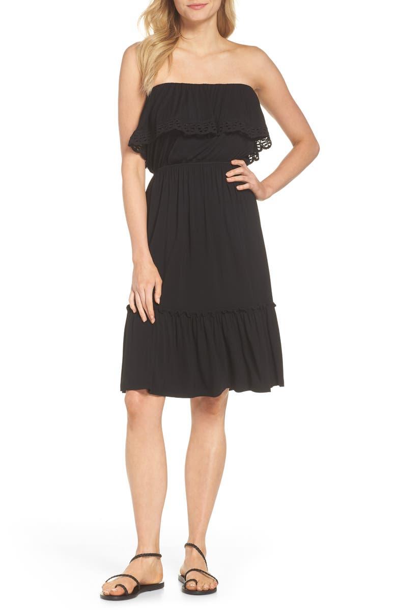Strapless Ruffle Blouson Jersey Dress
