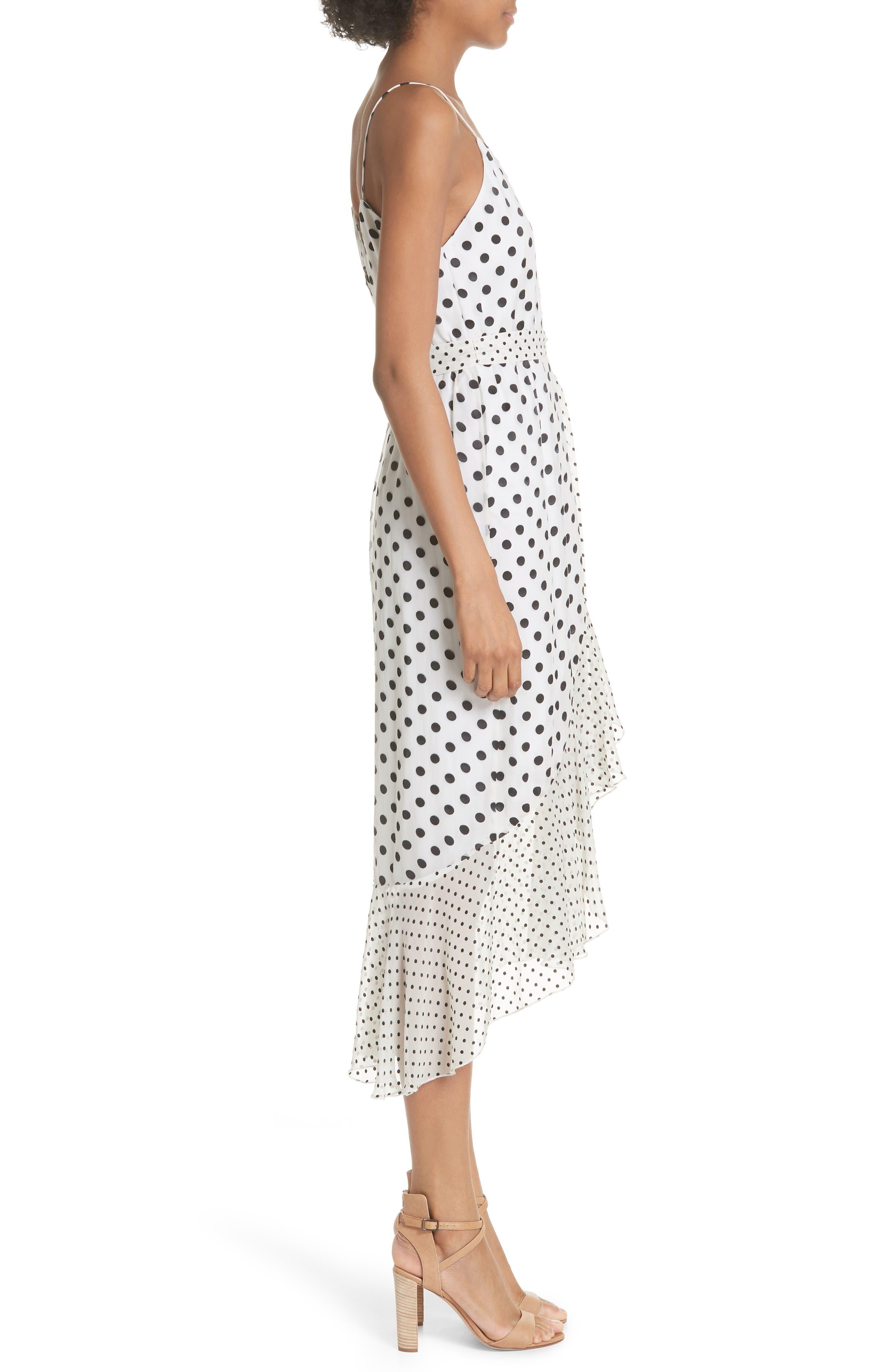 Ruffle Faux Wrap Dress,                             Alternate thumbnail 3, color,                             Soft White Mono Dot