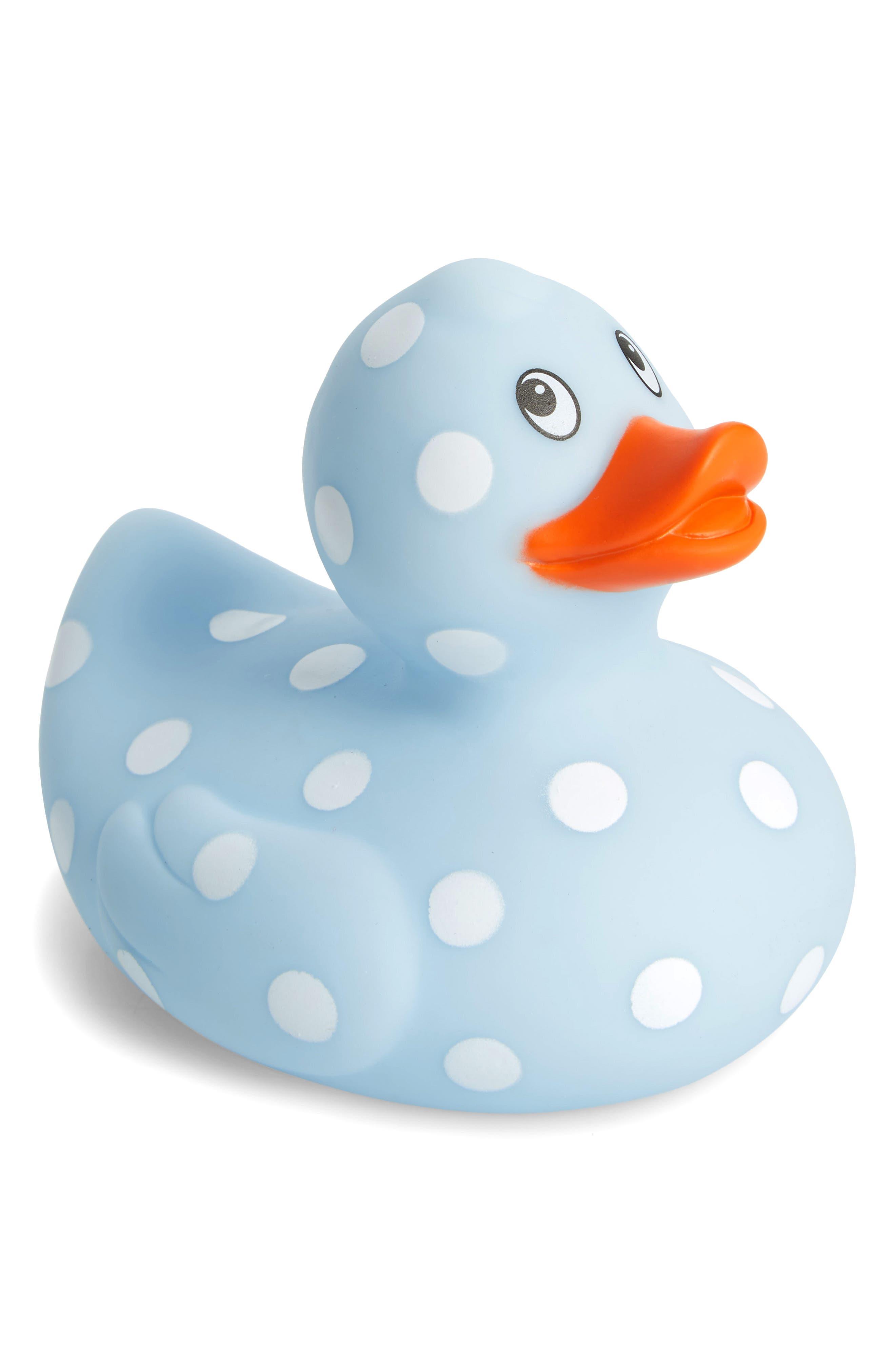 Blue Polka Dot Rubber Duck Bath Toy,                             Main thumbnail 1, color,                             Light Blue