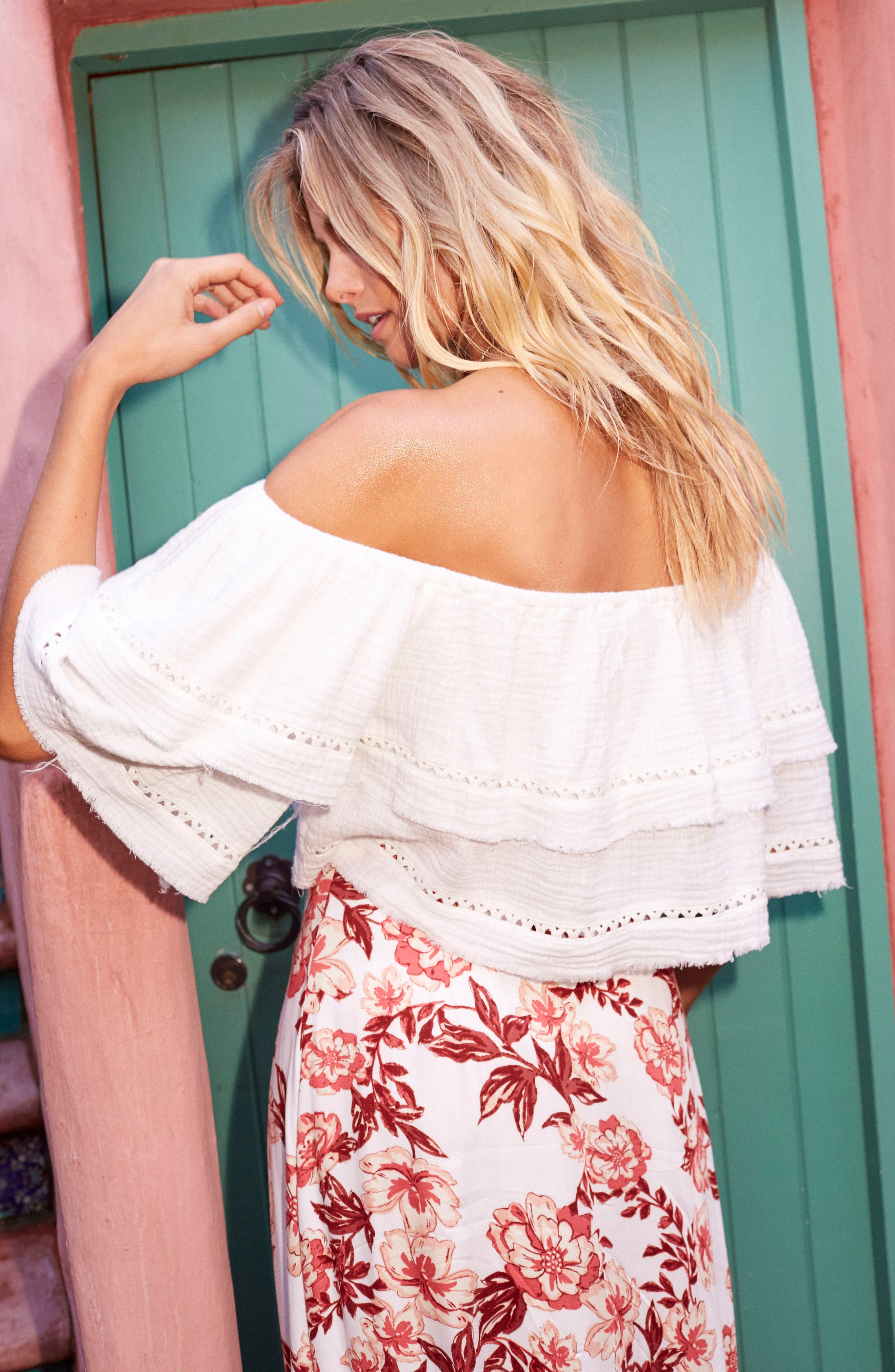 Sliding Currents Off the Shoulder Ruffle Top,                             Alternate thumbnail 2, color,                             Off White